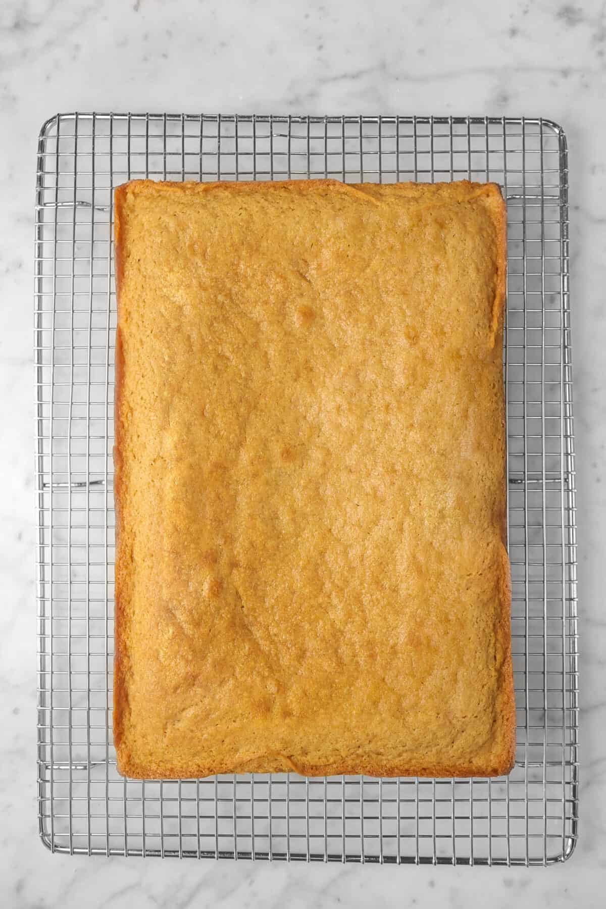 cinnamon cake on a wire cooling rack