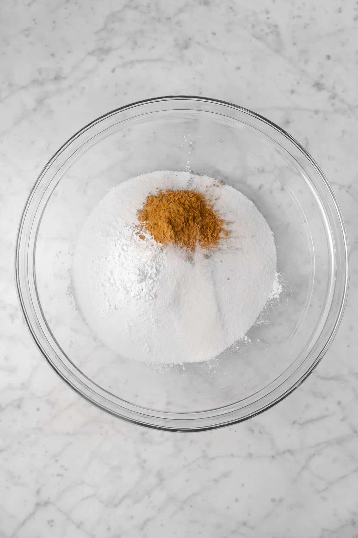 cinnamon, sugar, flour, and baking power in a bowl