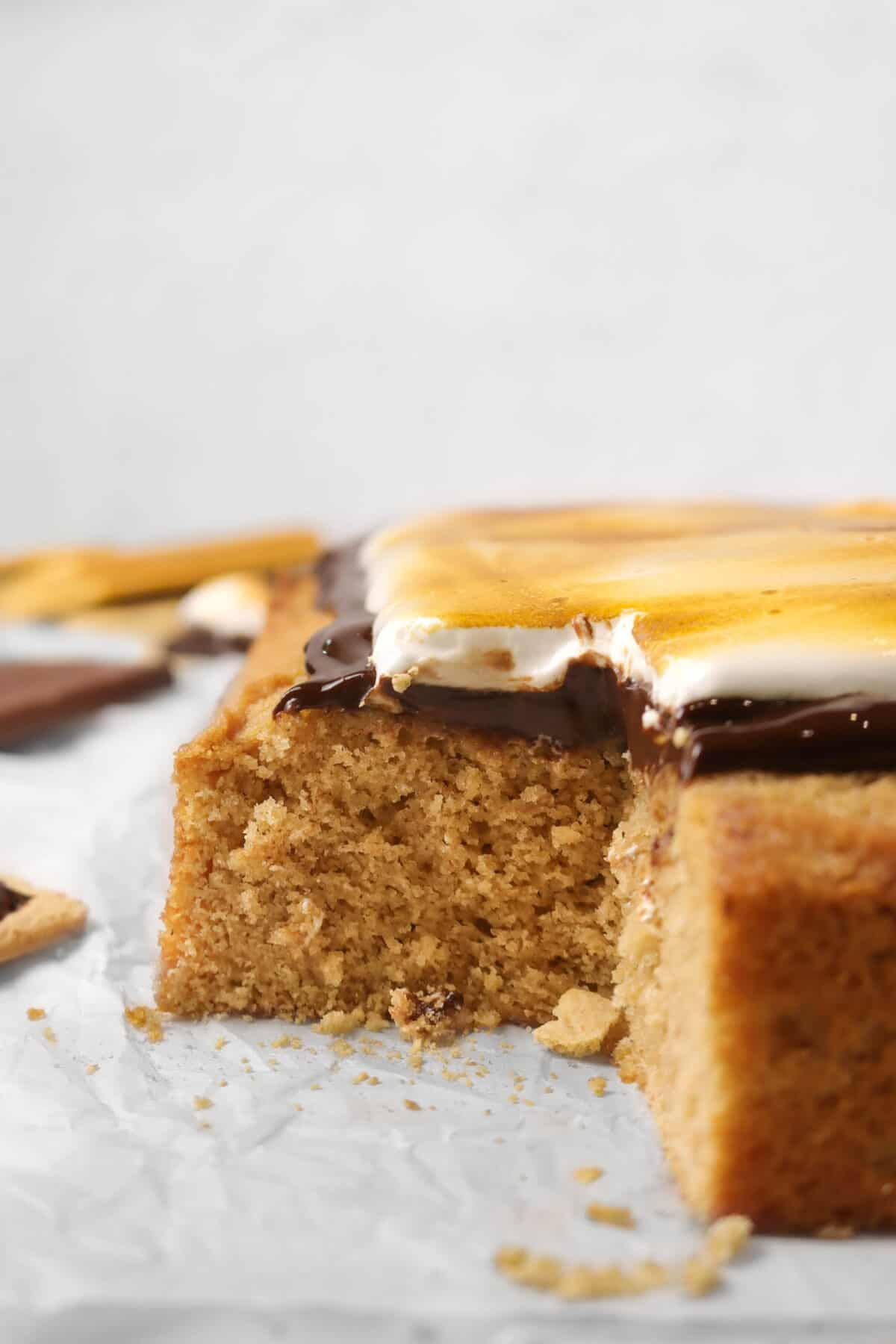 vertical zoomed in shot of s'mores cake with a slice taken out of it