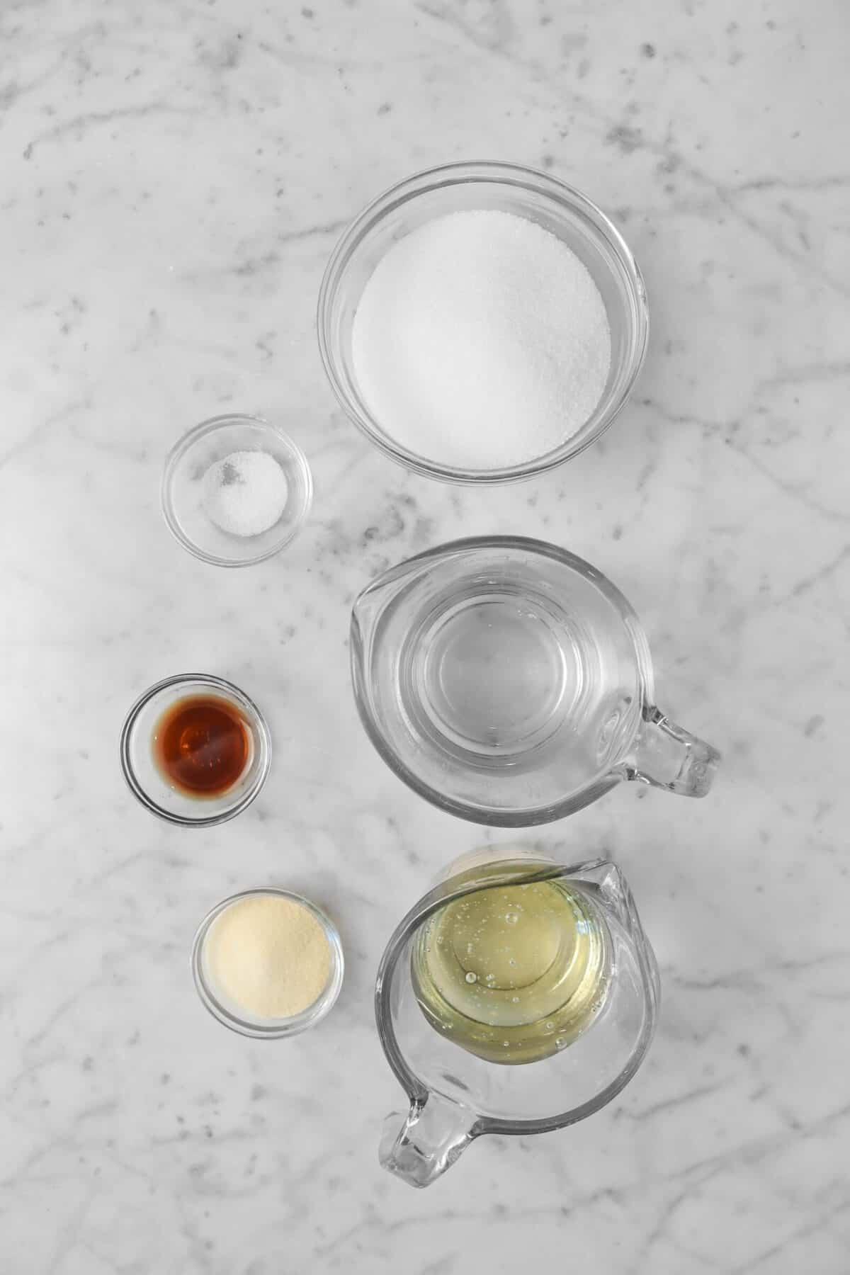 sugar, water, corn syrup, salt, vanilla, gelatin in bowls