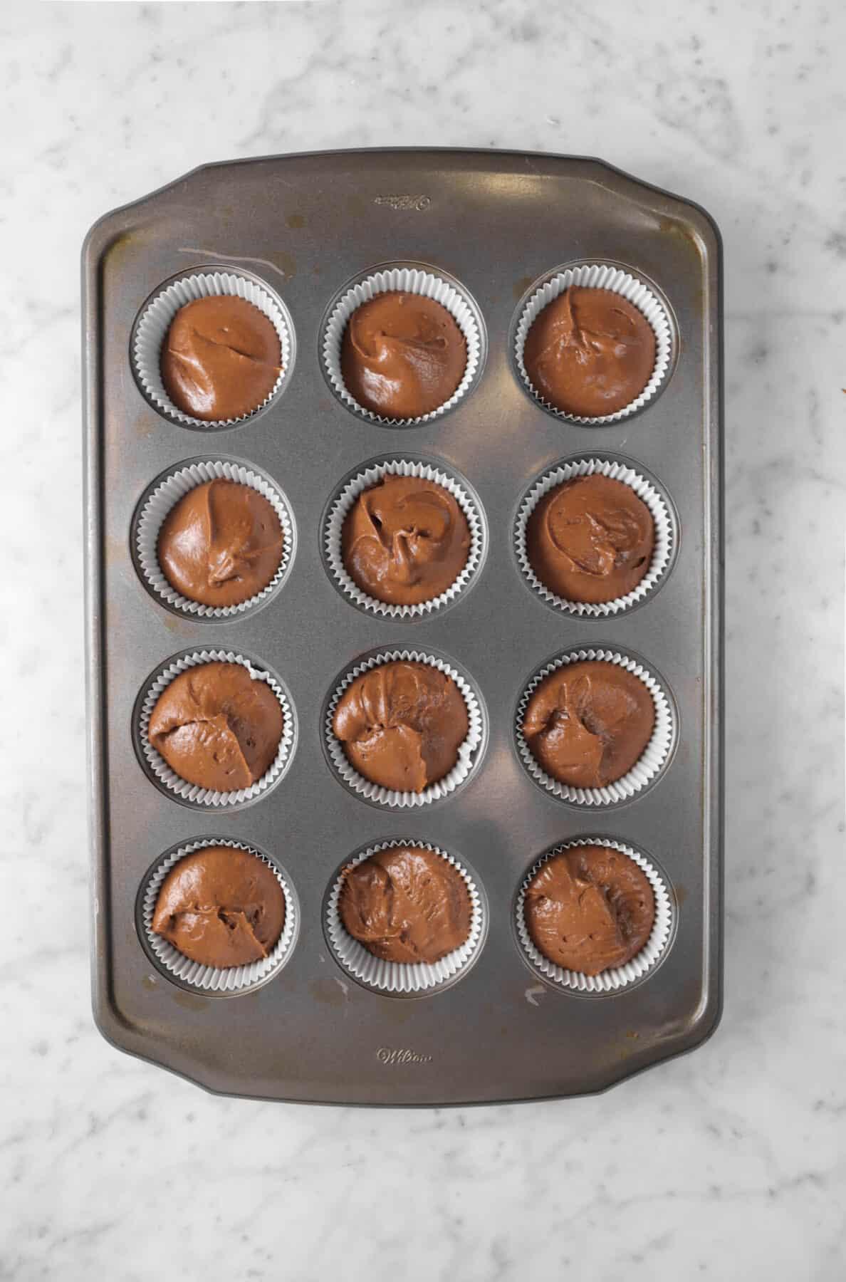 chocolate cupcake batter in a muffin pan