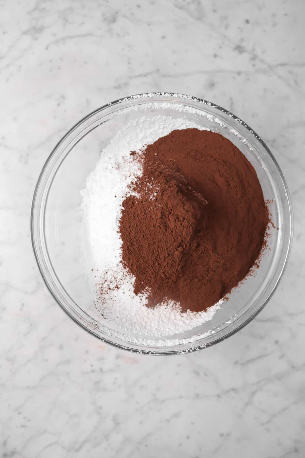 cocoa powdered and powdered sugar in a bowl
