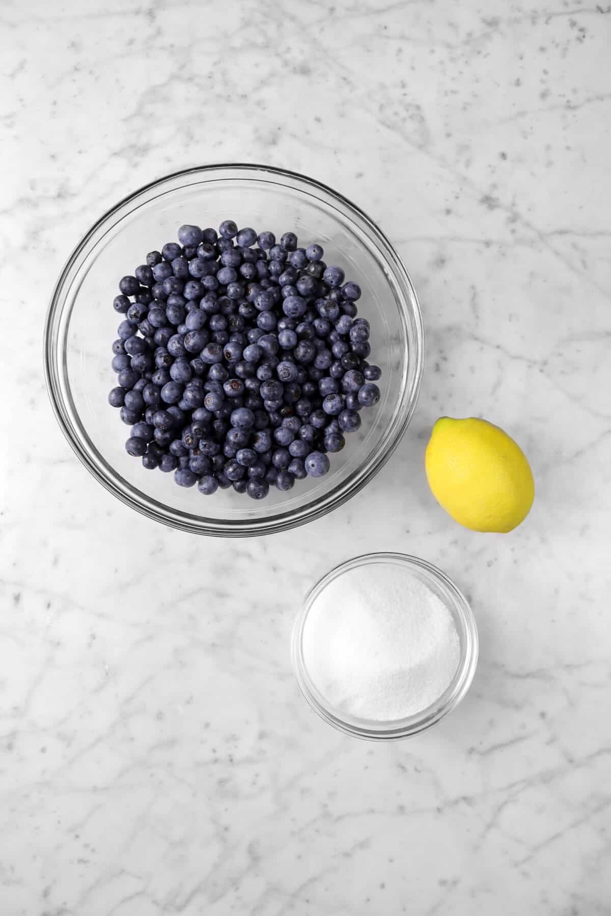 blueberries, a lemon, and sugar on a marle counter