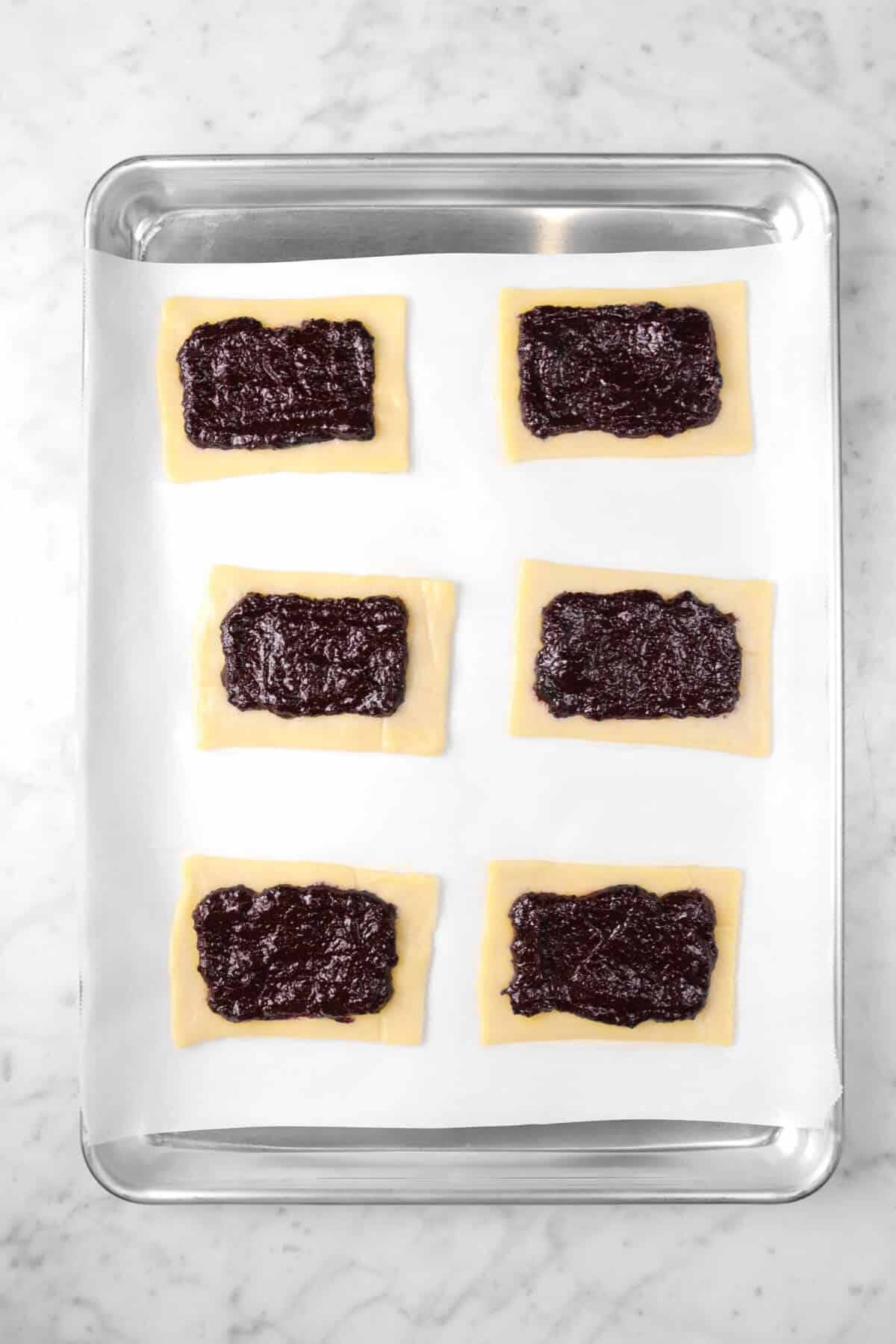 jam spread in the centers of pop tarts