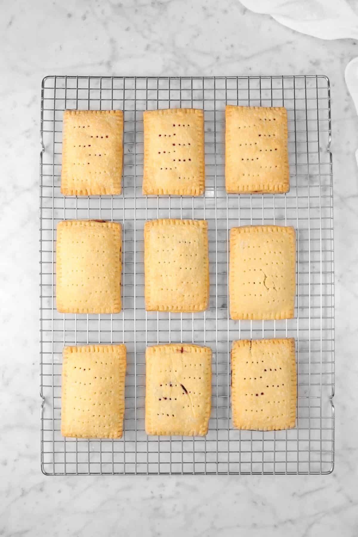 nine pop tarts on a cooling rack