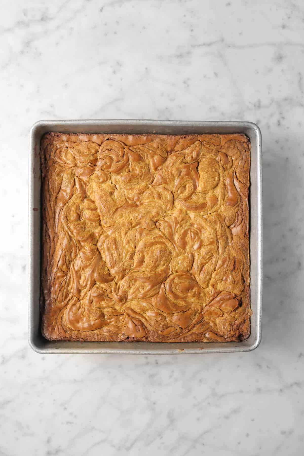 Peanut Butter Chocolate Swirl Brownie in squared pan