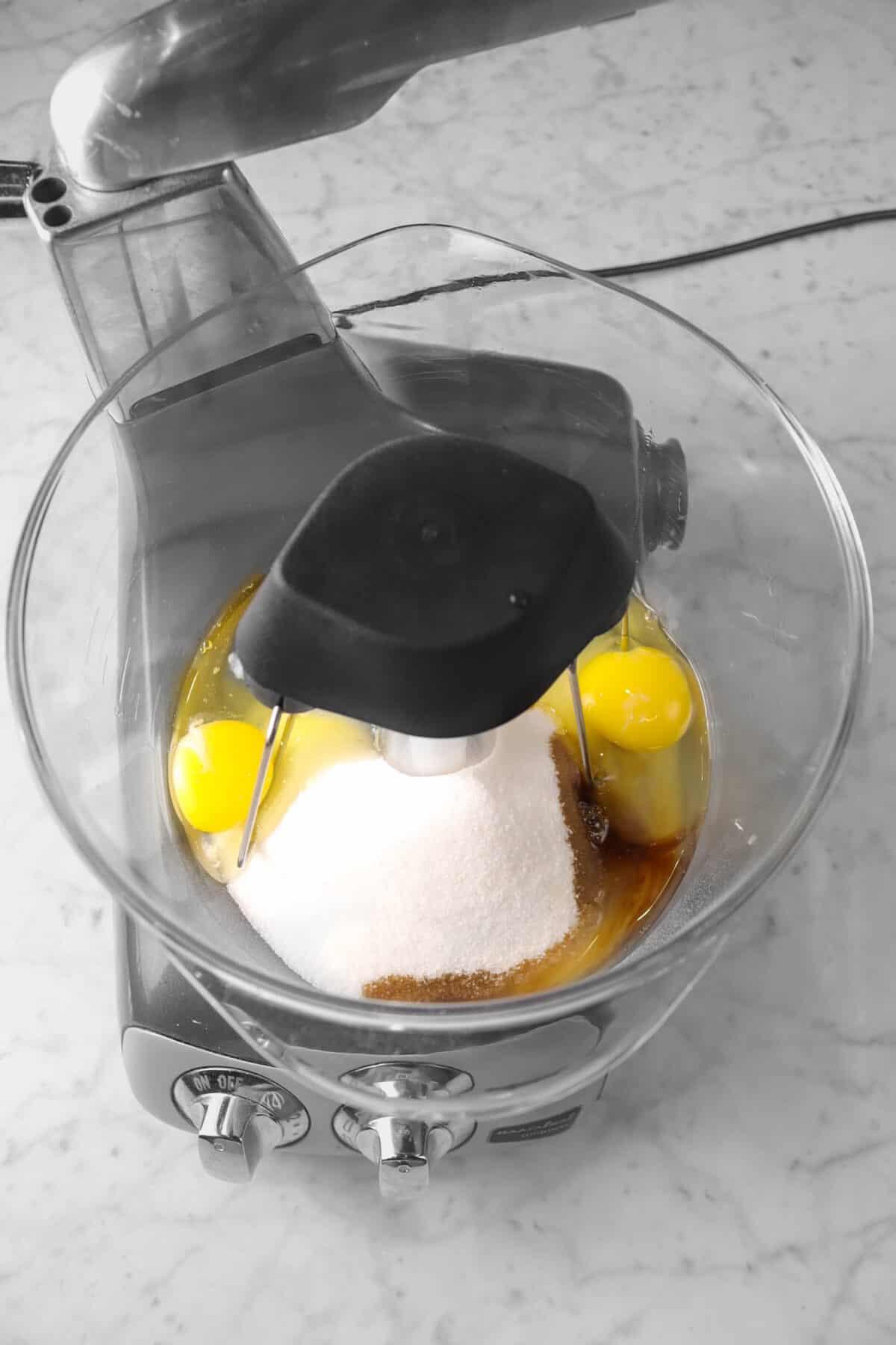 eggs, vanilla, and sugar in a mixer