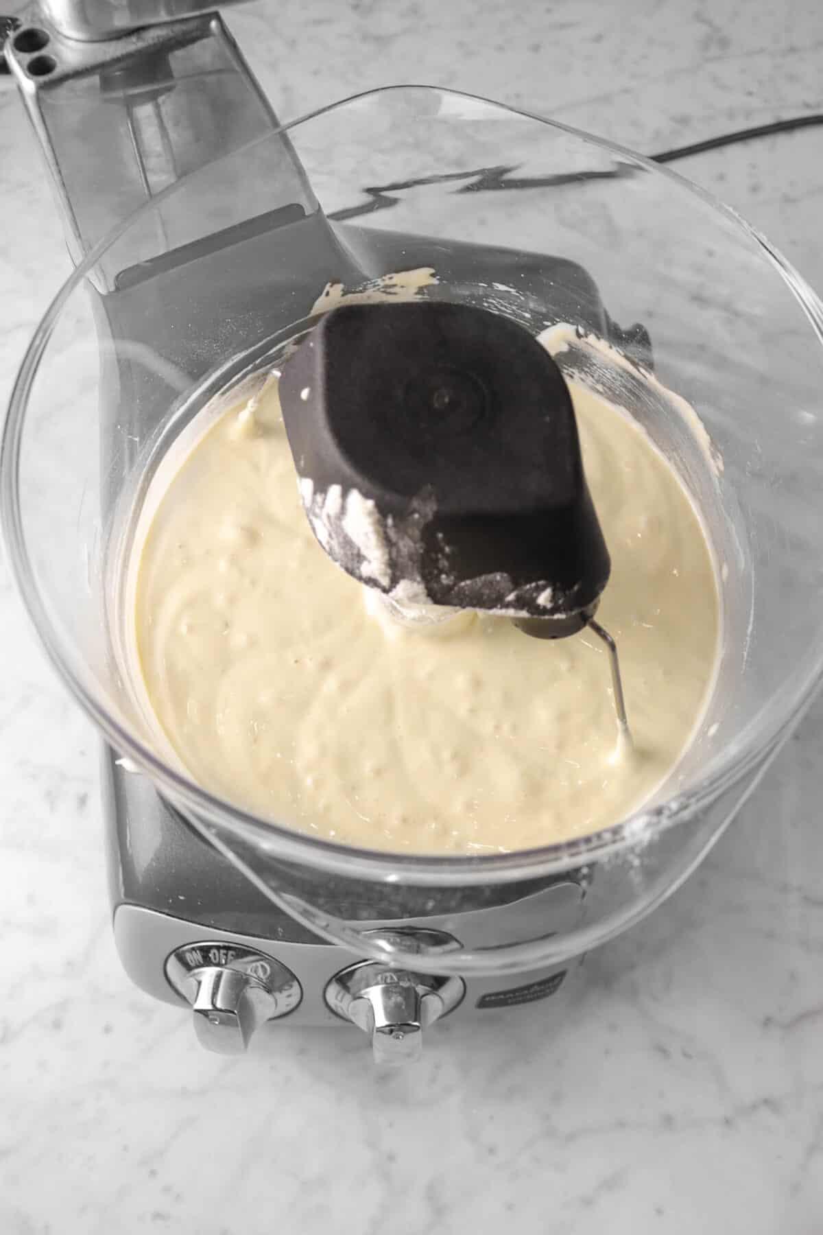 flour stirred into egg mixture
