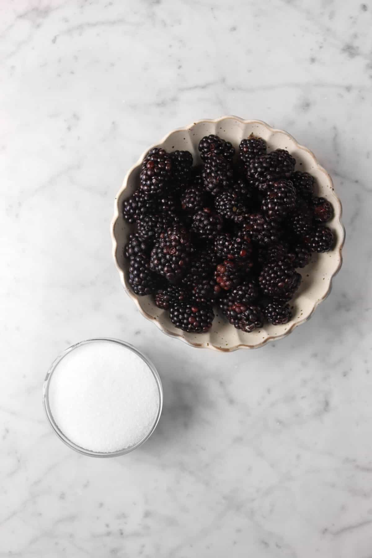 blackberries and sugar on a marble counter