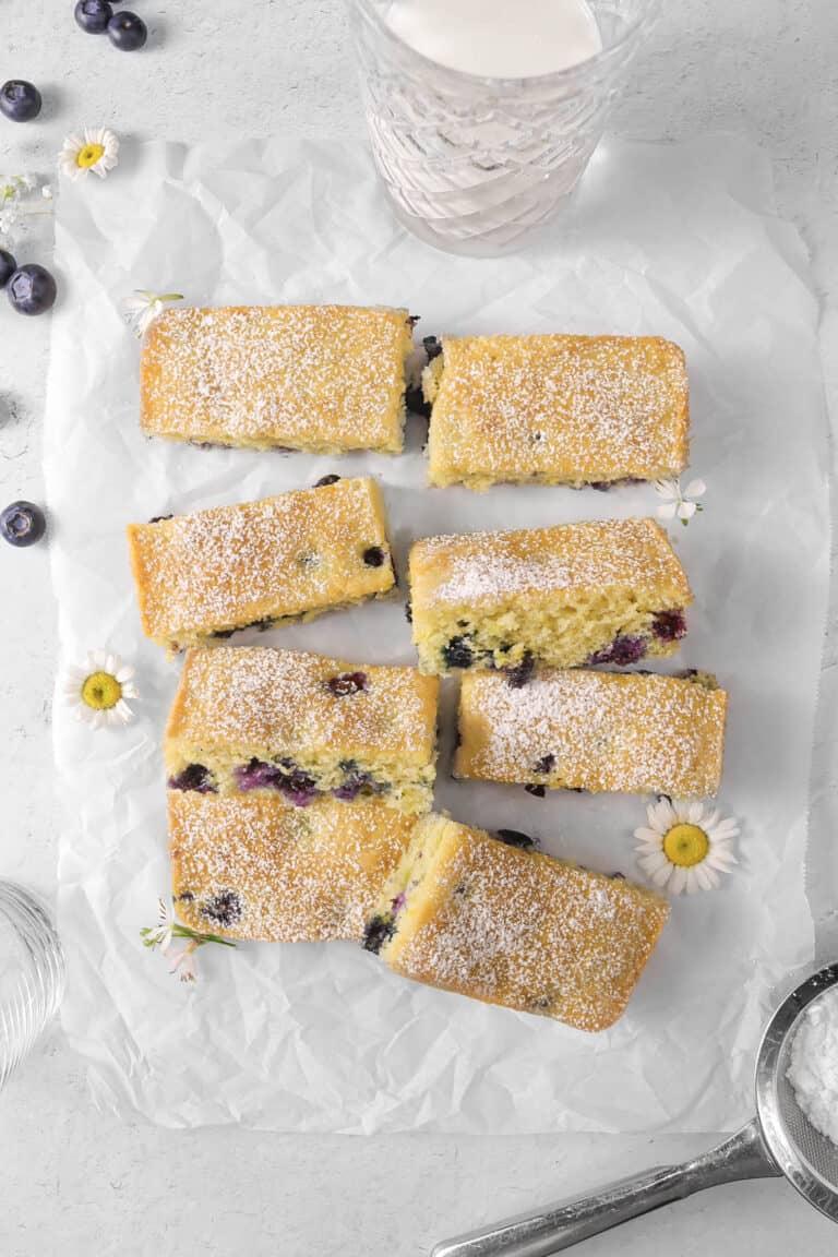 Lemon Blueberry Buttermilk Snack Cake