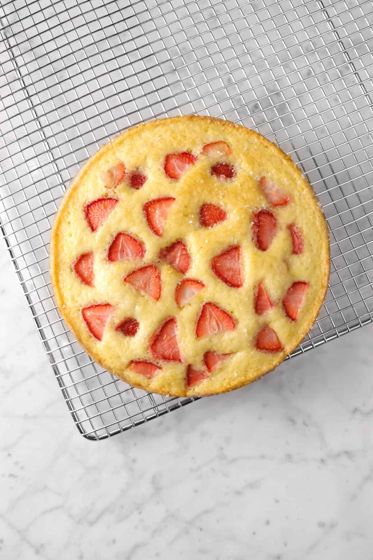 strawberry snack cake on a wire cooling rack