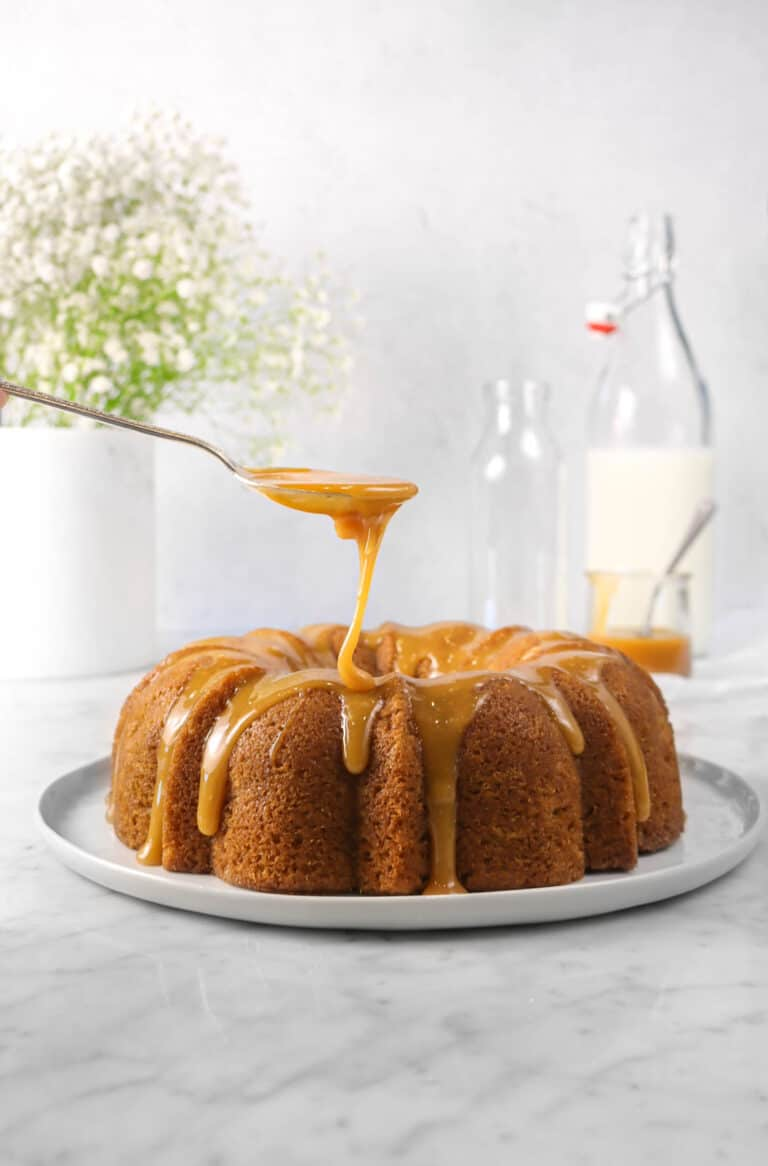 Spiced Apple Bundt Cake with Caramel Drizzle