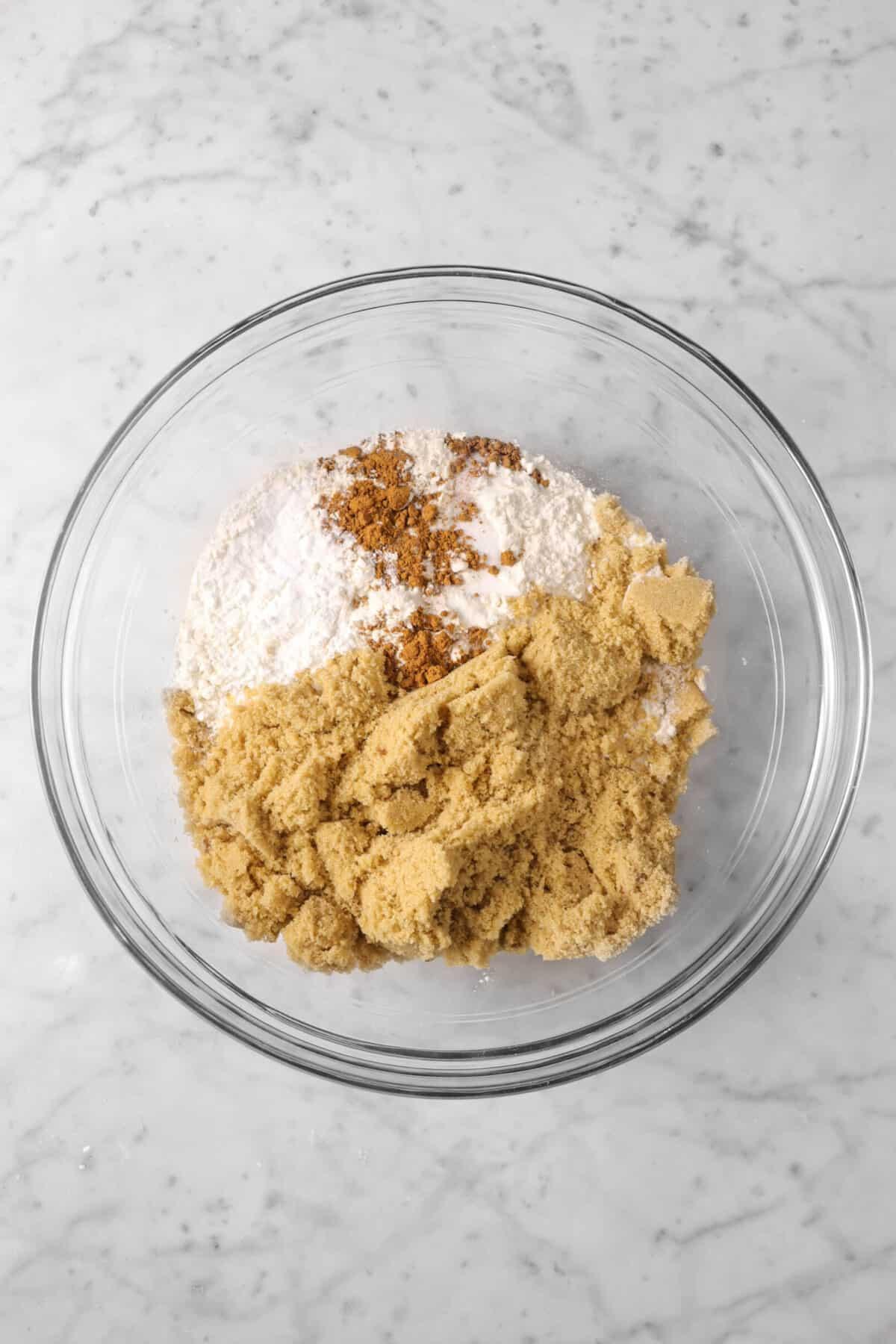 brown sugar, flour, cinnamon, salt, and baking powder in a bowl