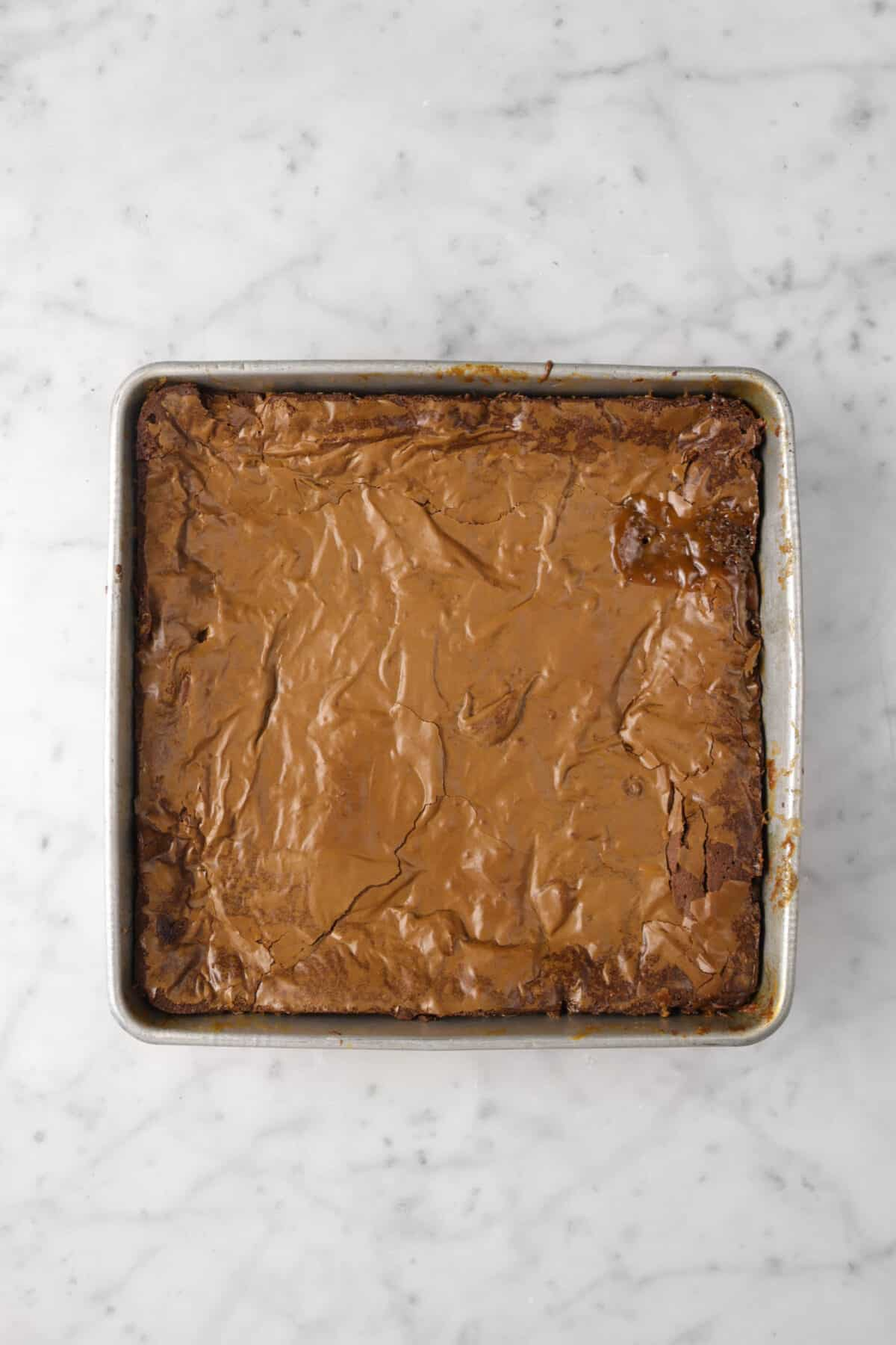 brownies baked in a square pan