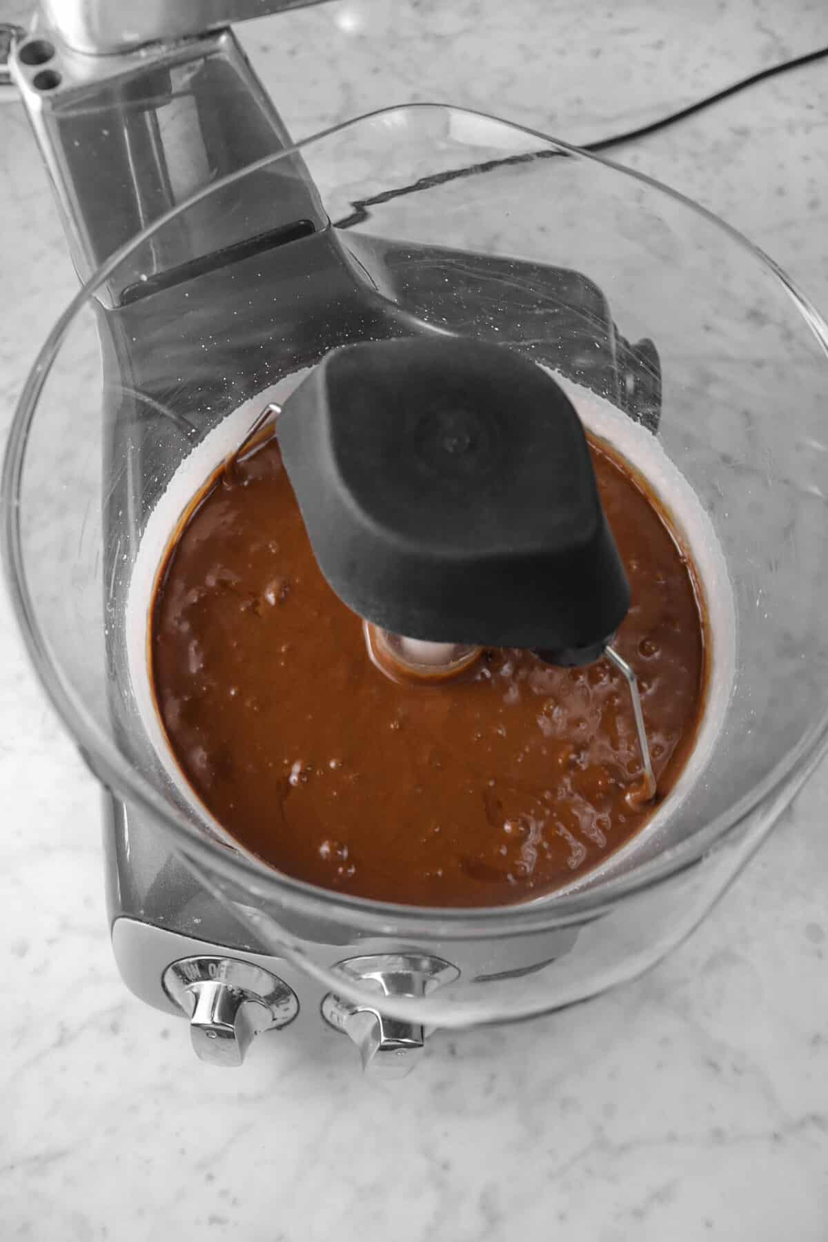 chocolate mixed into egg mixture