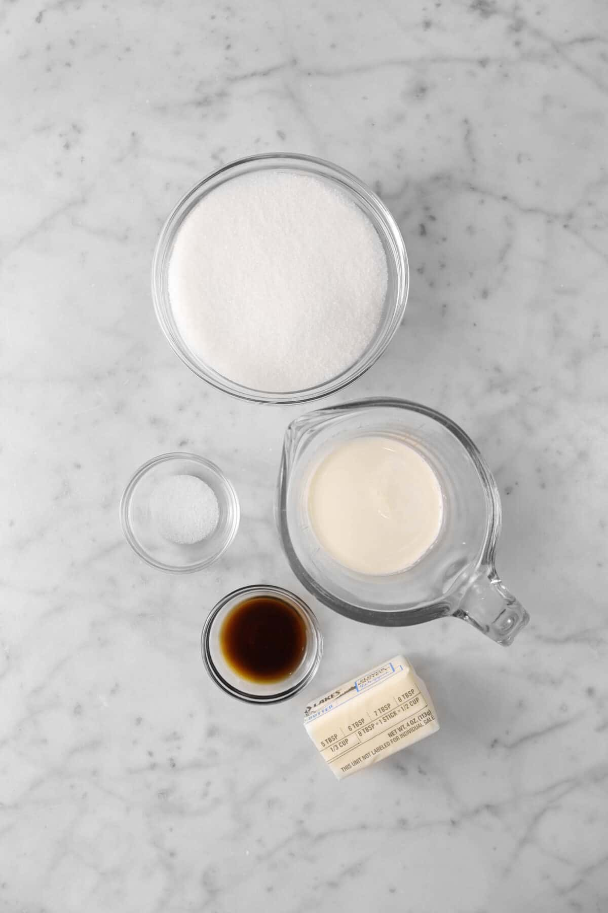 sugar, salt, heavy cream, vanilla, and butter
