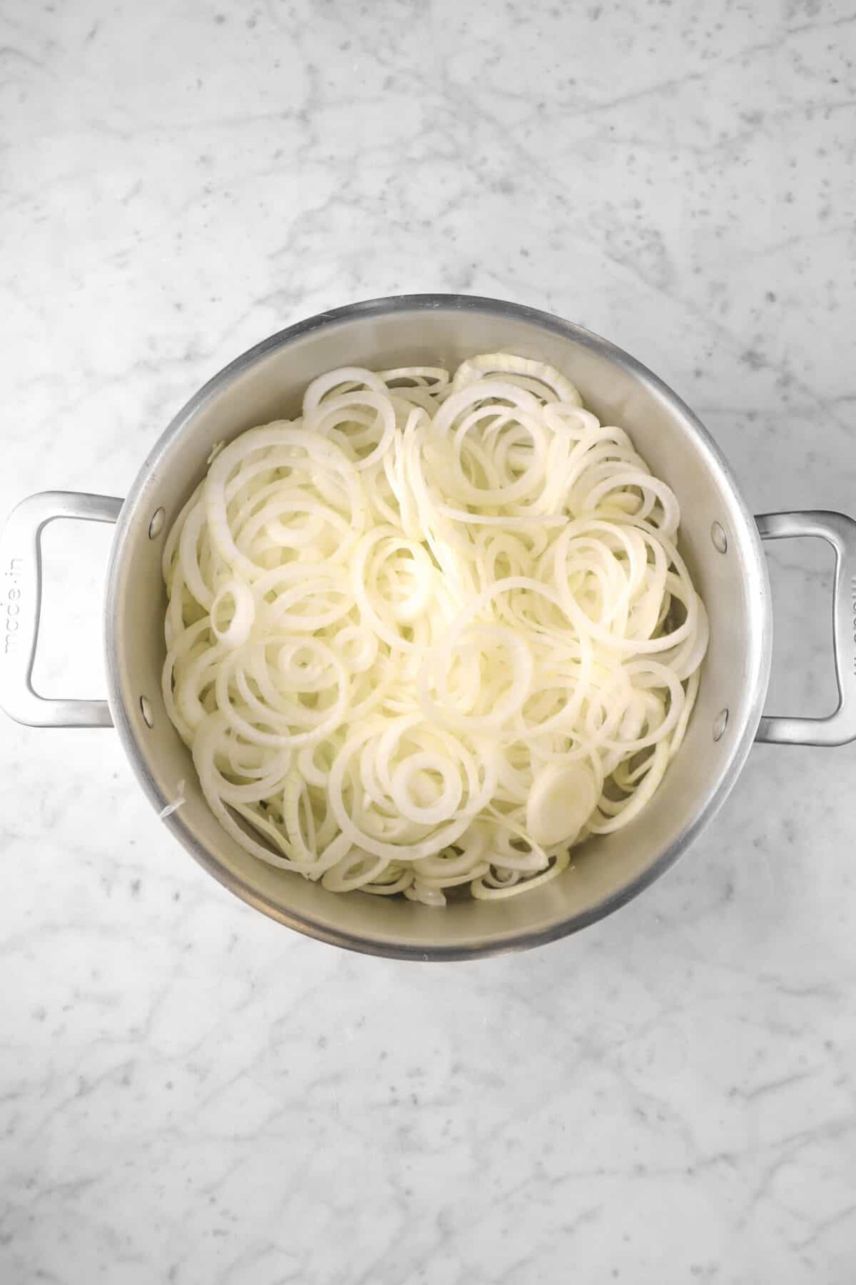 onion slices in a large pot