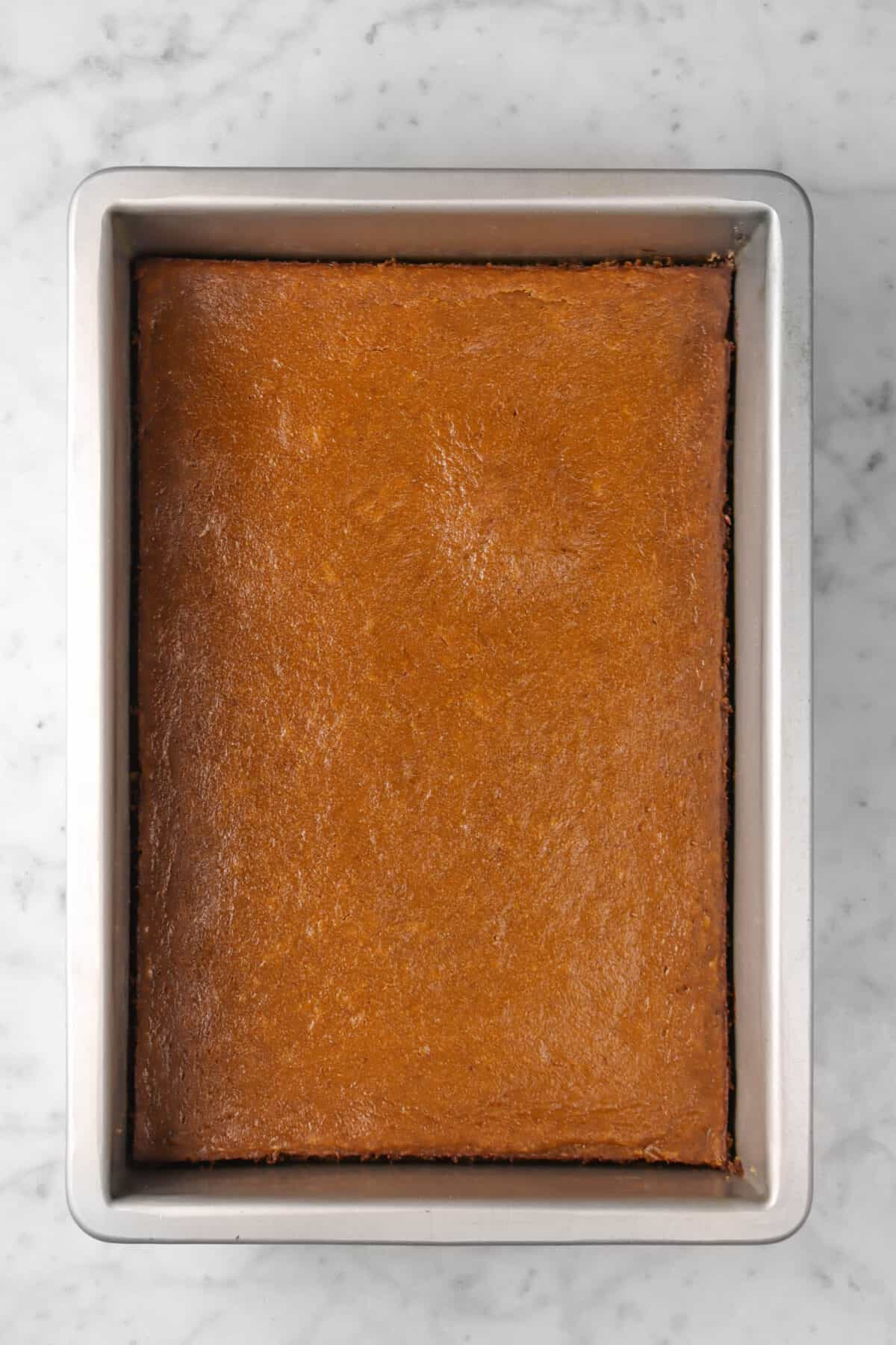 pumpkin pie bars baked in a pan