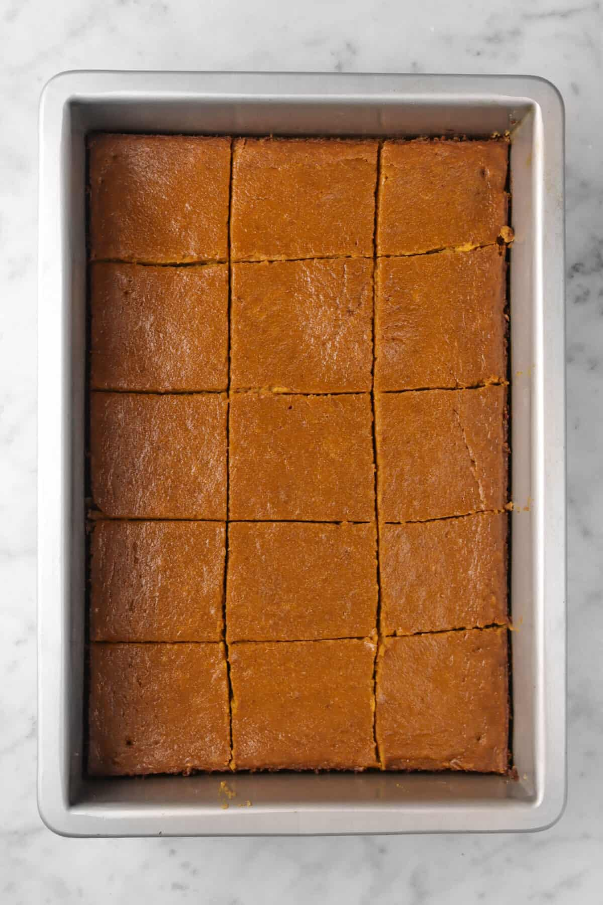 pumpkin pie bars cut into squares