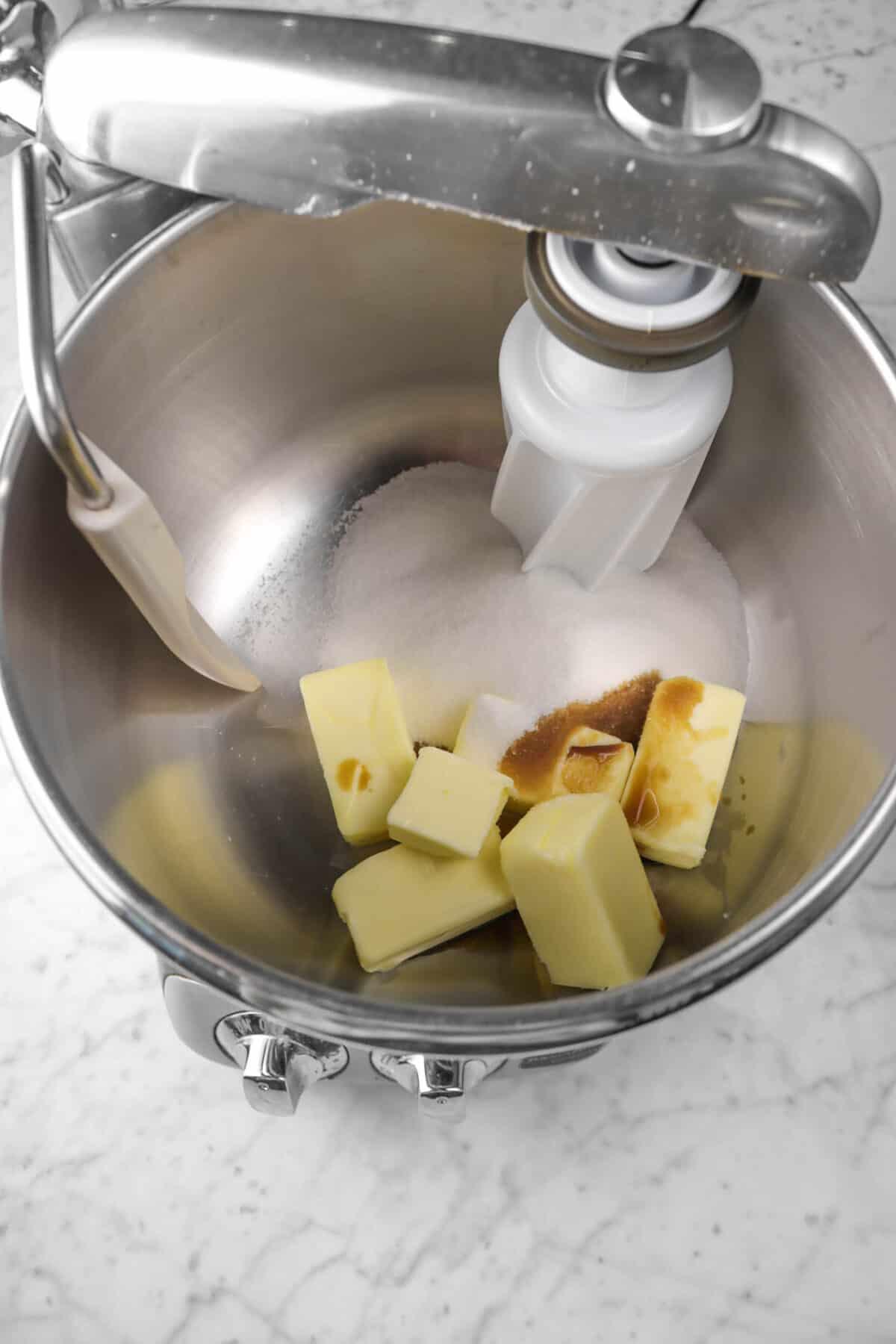 butter, vanilla, and sugar in a mixer bowl