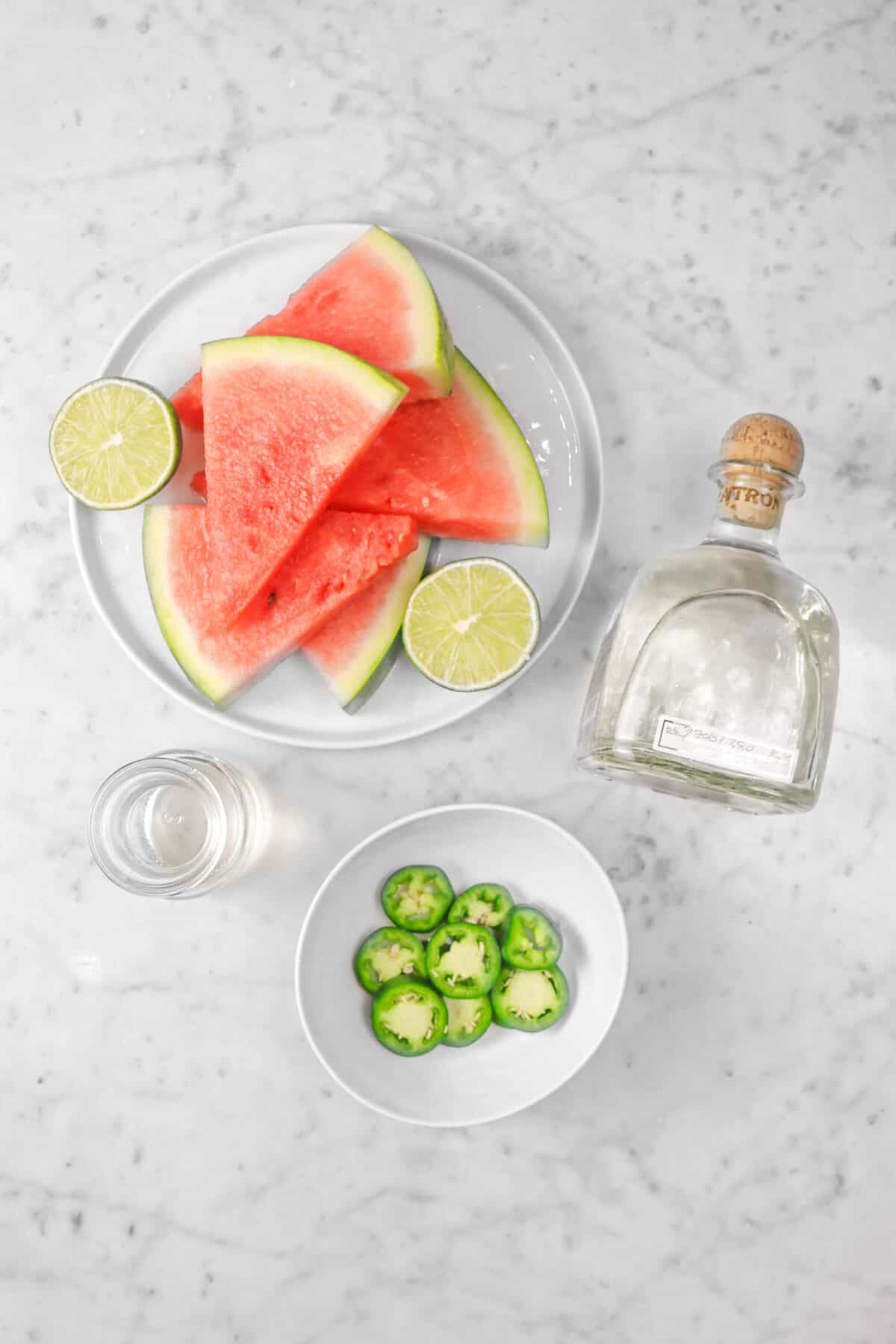watermelon slices, lime, jalapeno slices, tequila, simple syrup