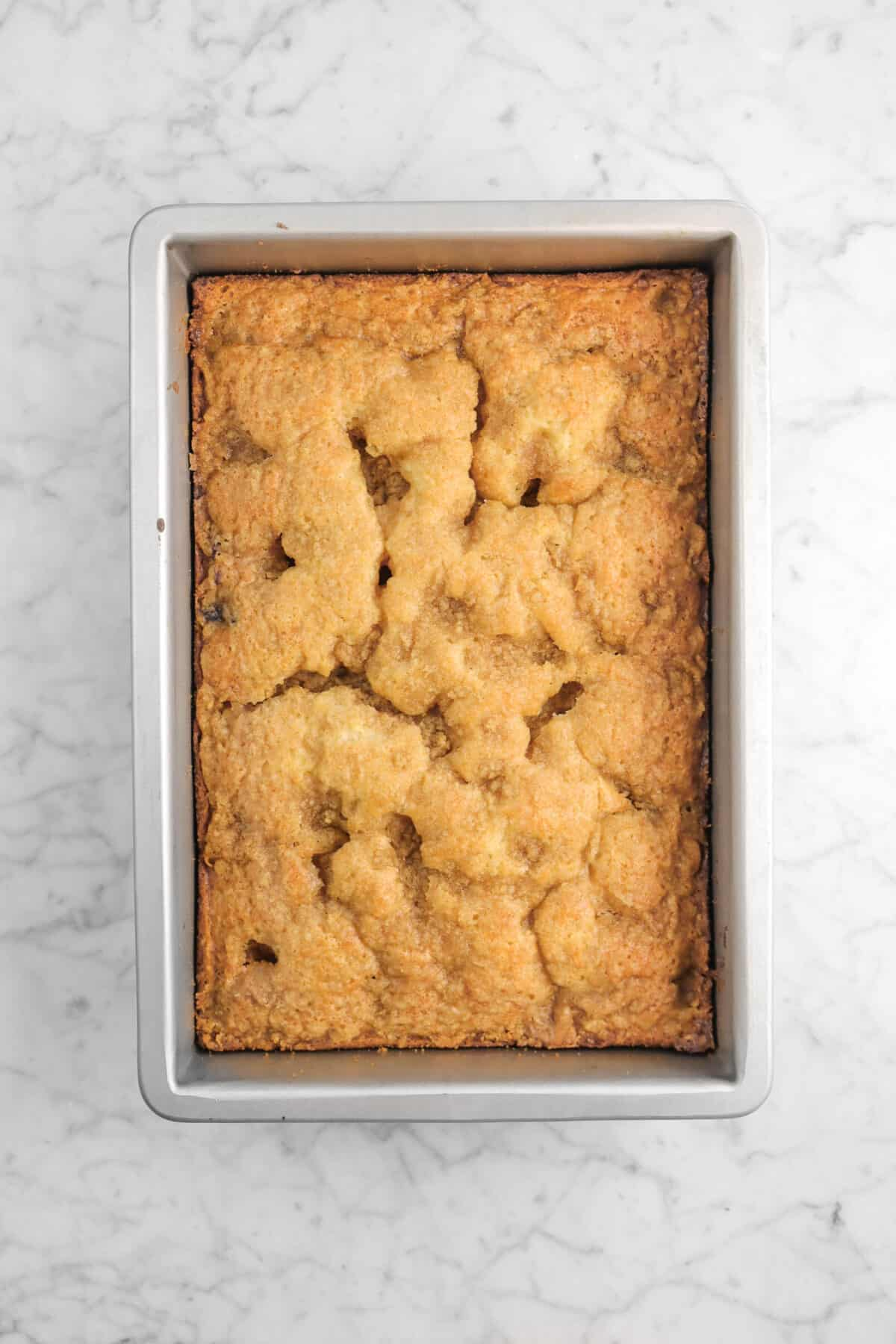 blueberry buckle baked in rectangular pan