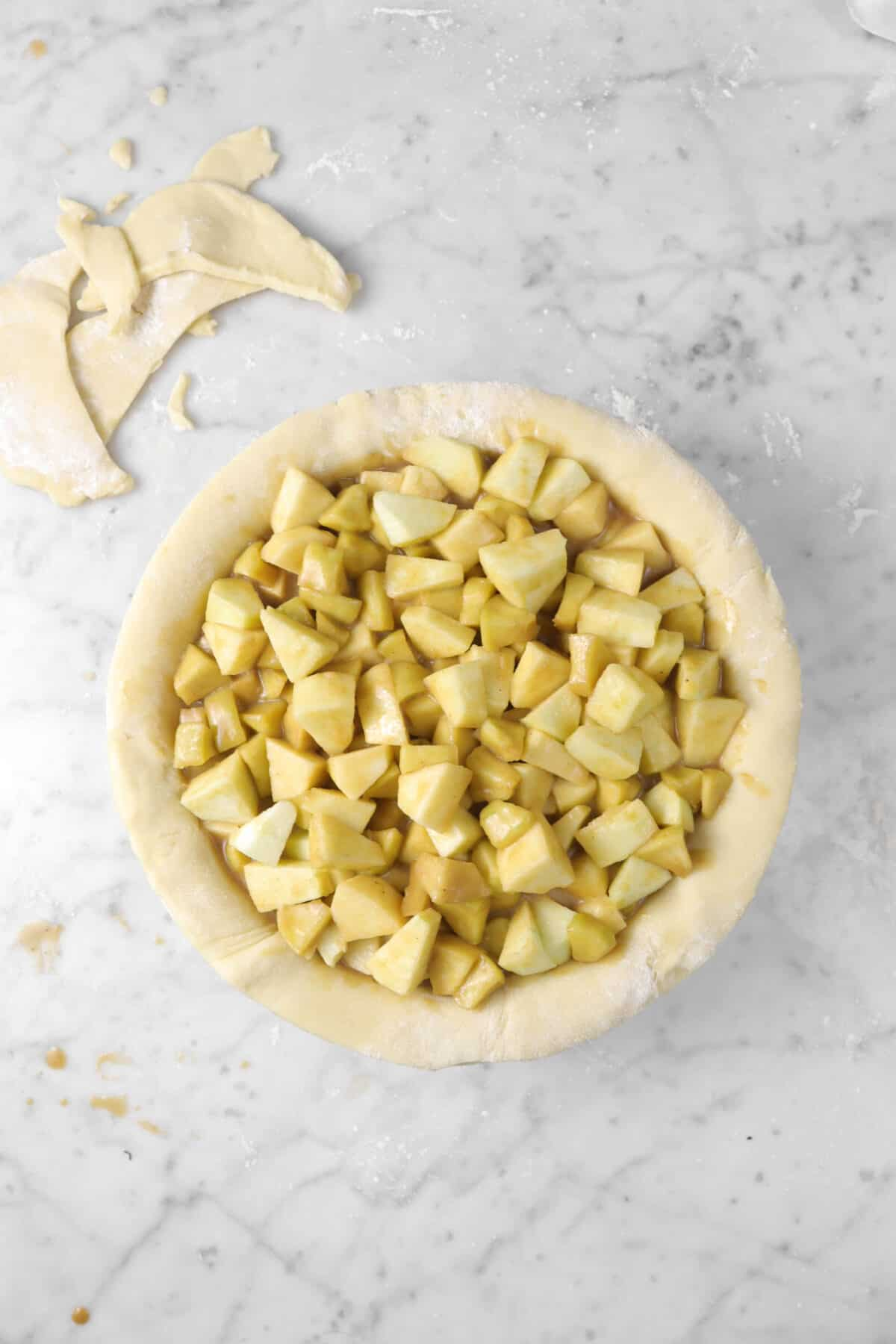 pie filling added to pie dough