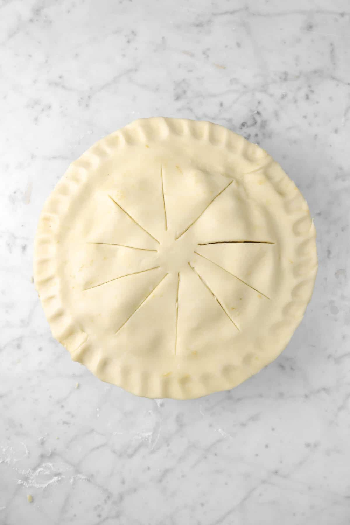 pie dough cut and pressed