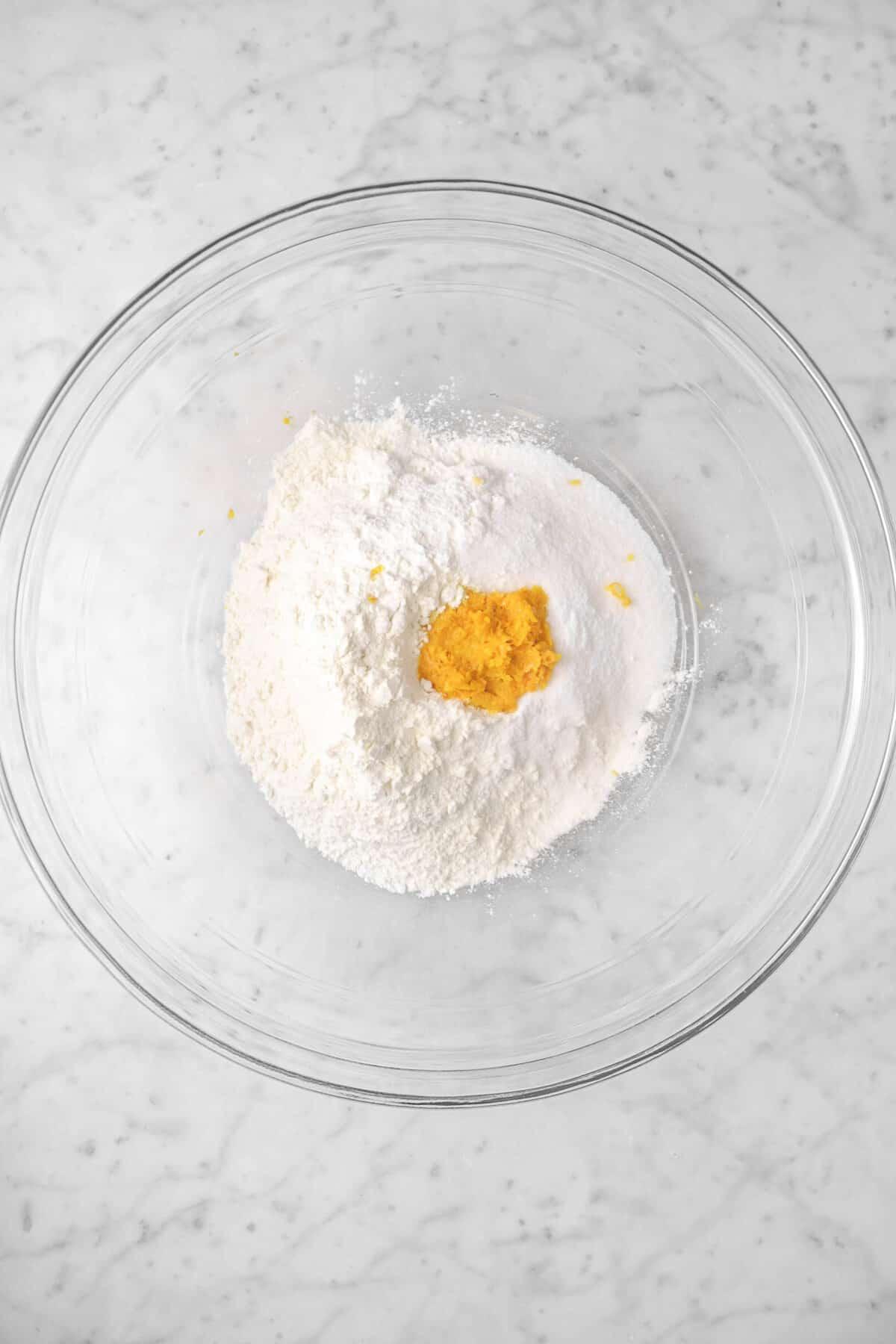 flour, sugar, salt, and orange zest in a glass bowl