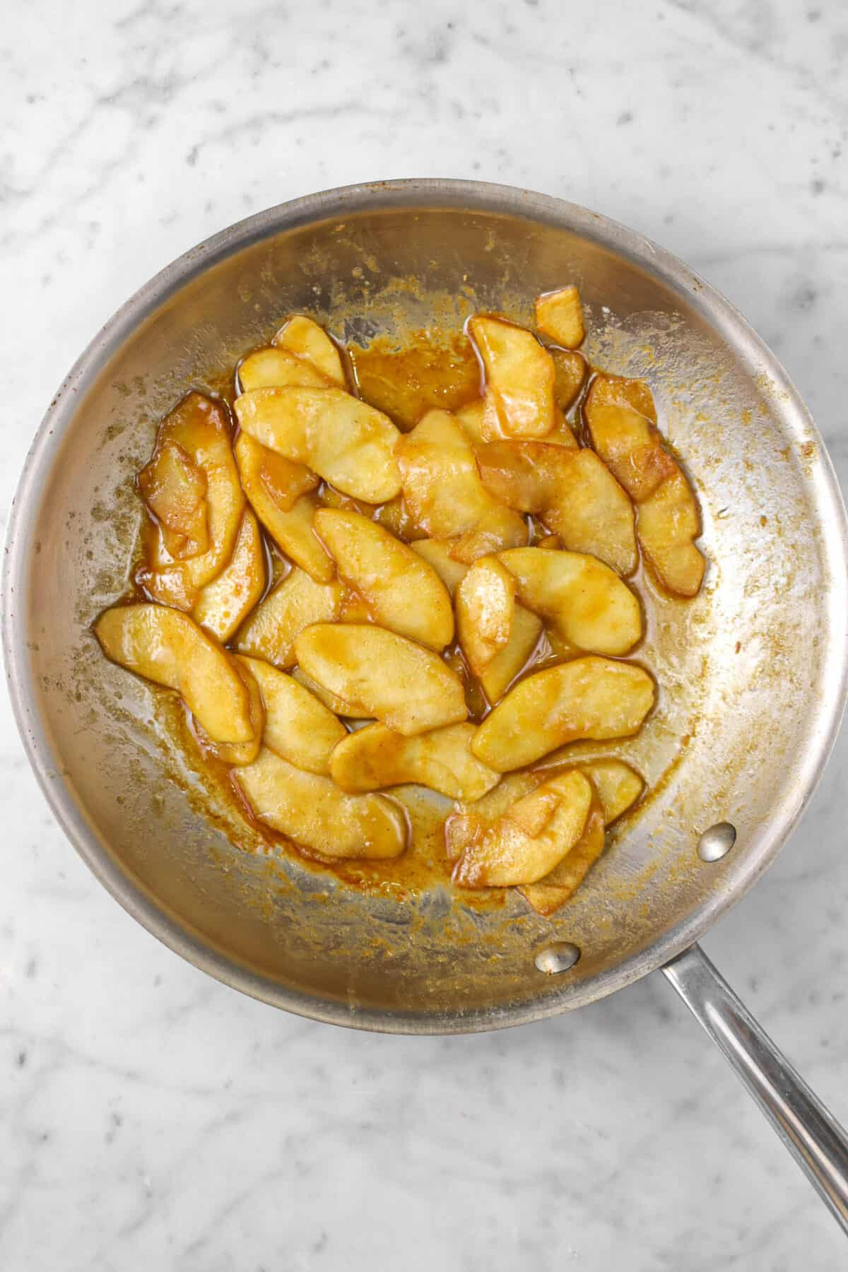 Sautéed apples in a pan