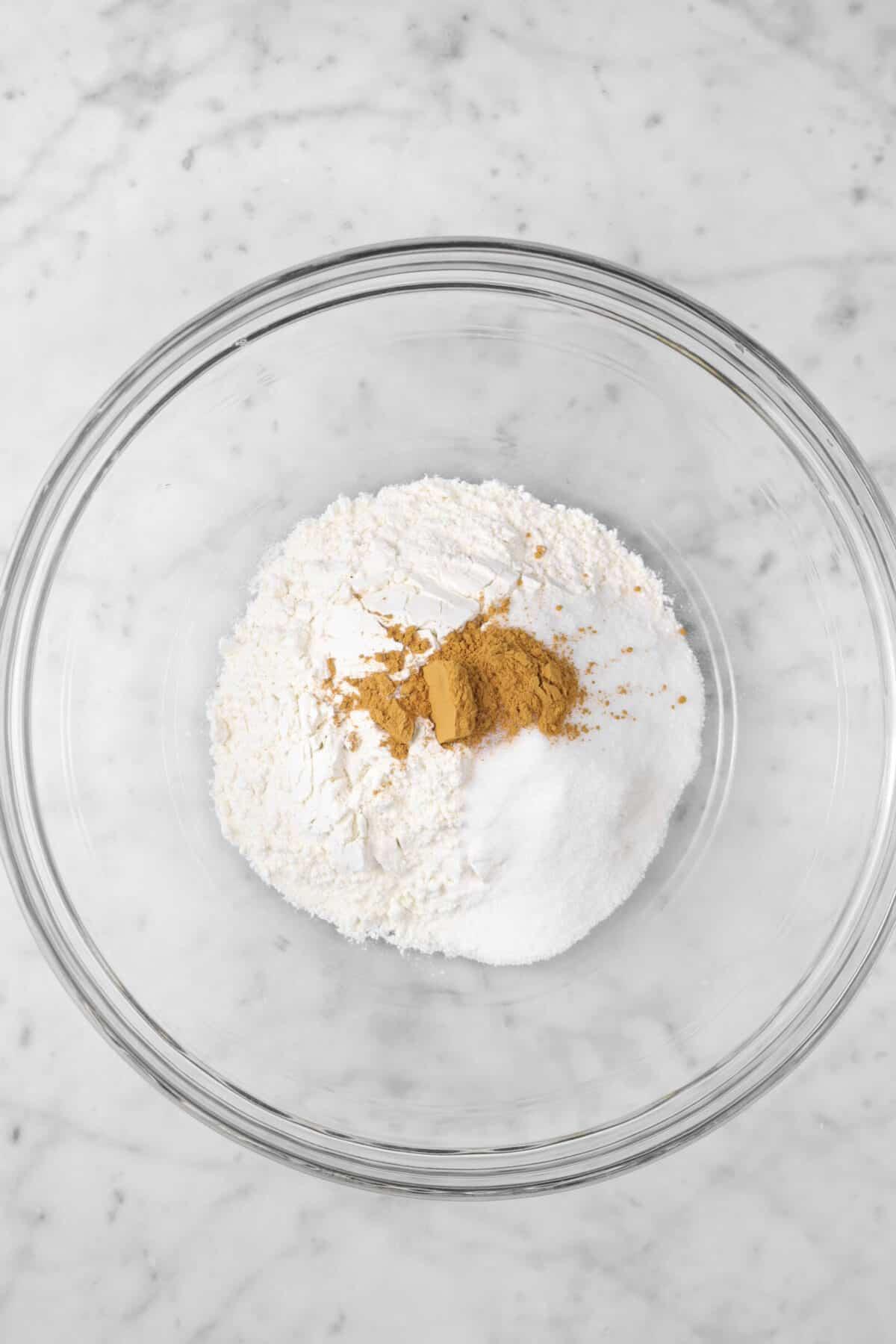 flour, cinnamon, sugar, and salt in a glass bowl