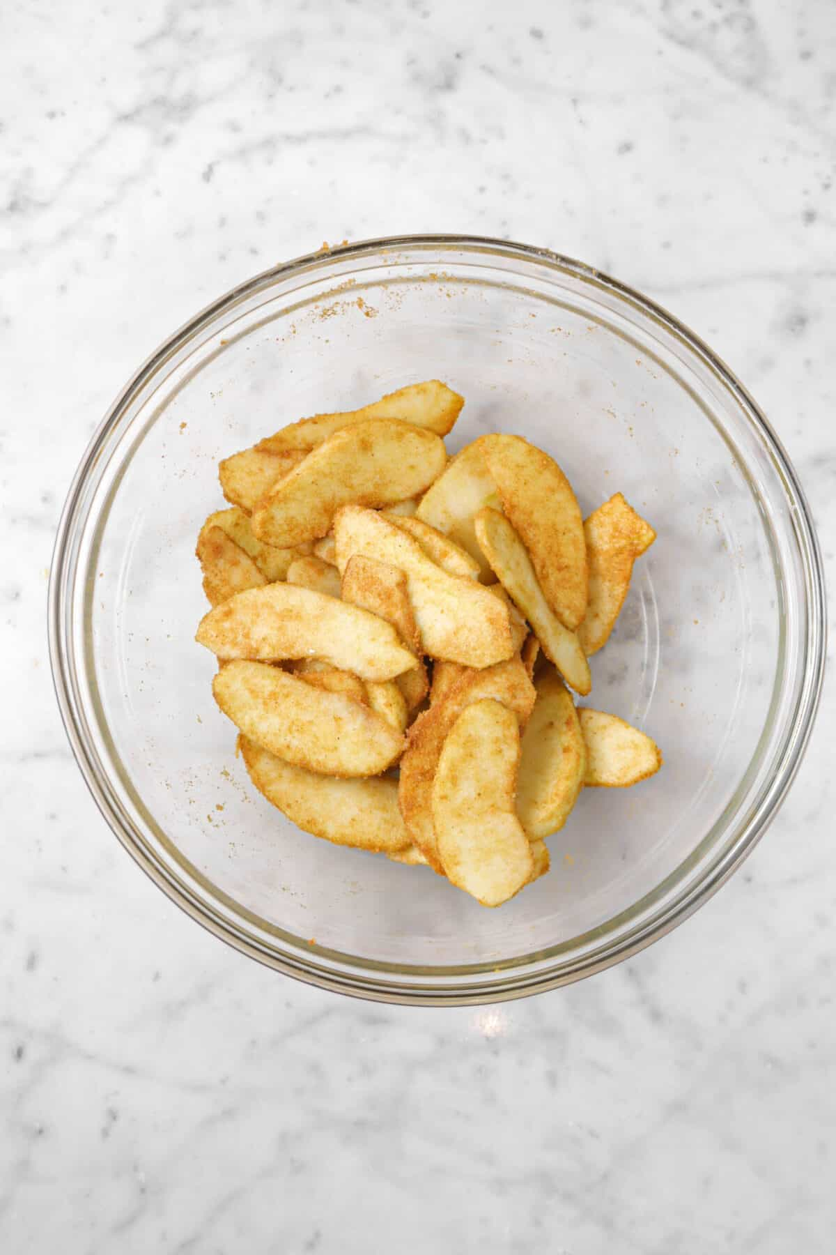 apple slices tossed in cinnamon and sugar