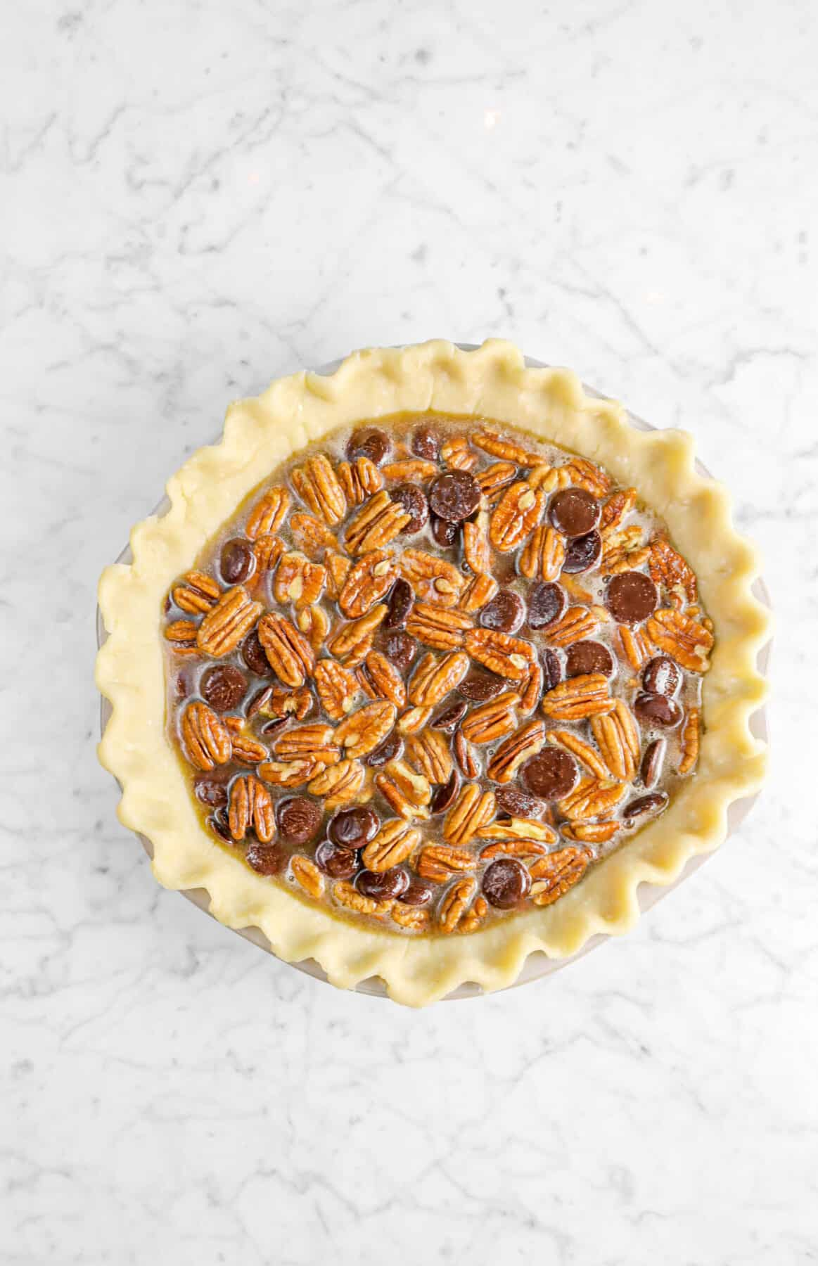 filling added to pie crust