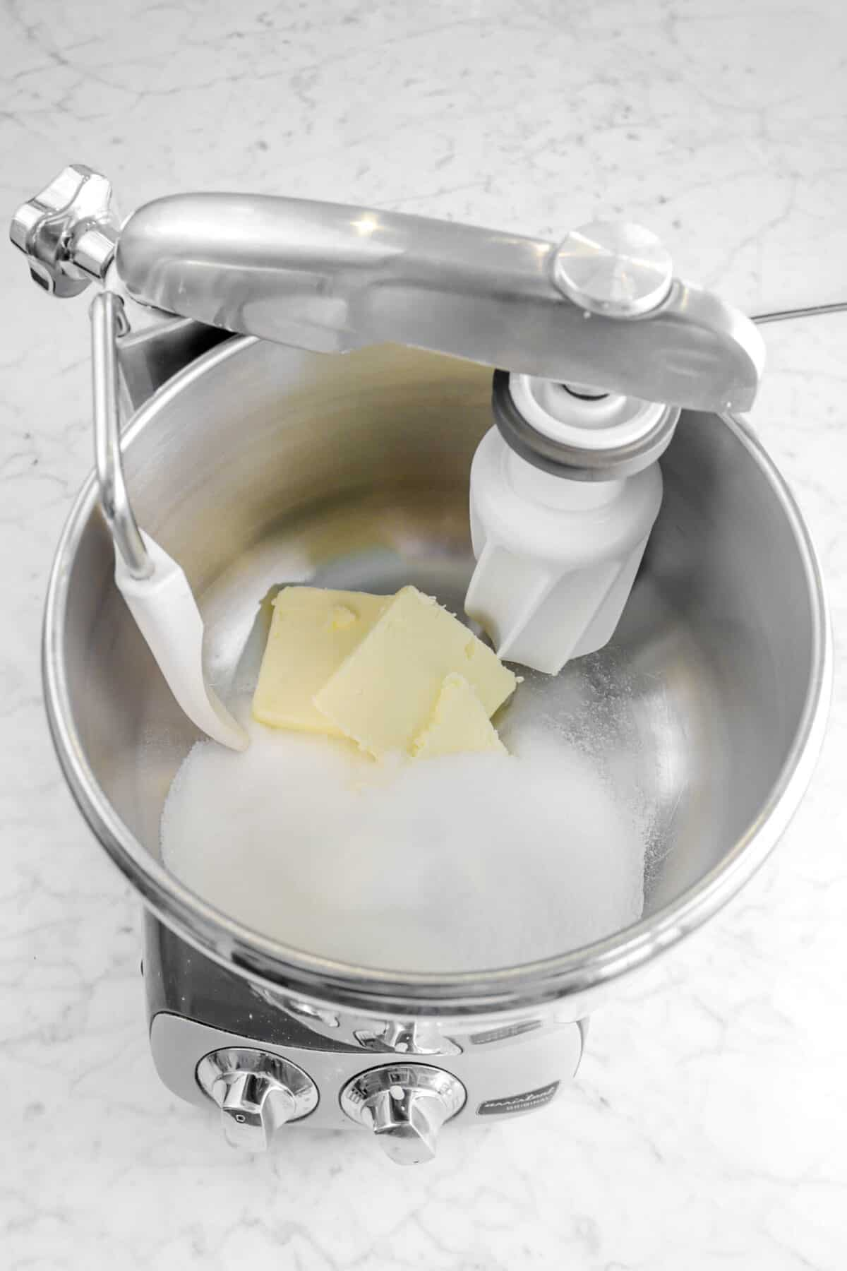 butter and sugar in a mixer
