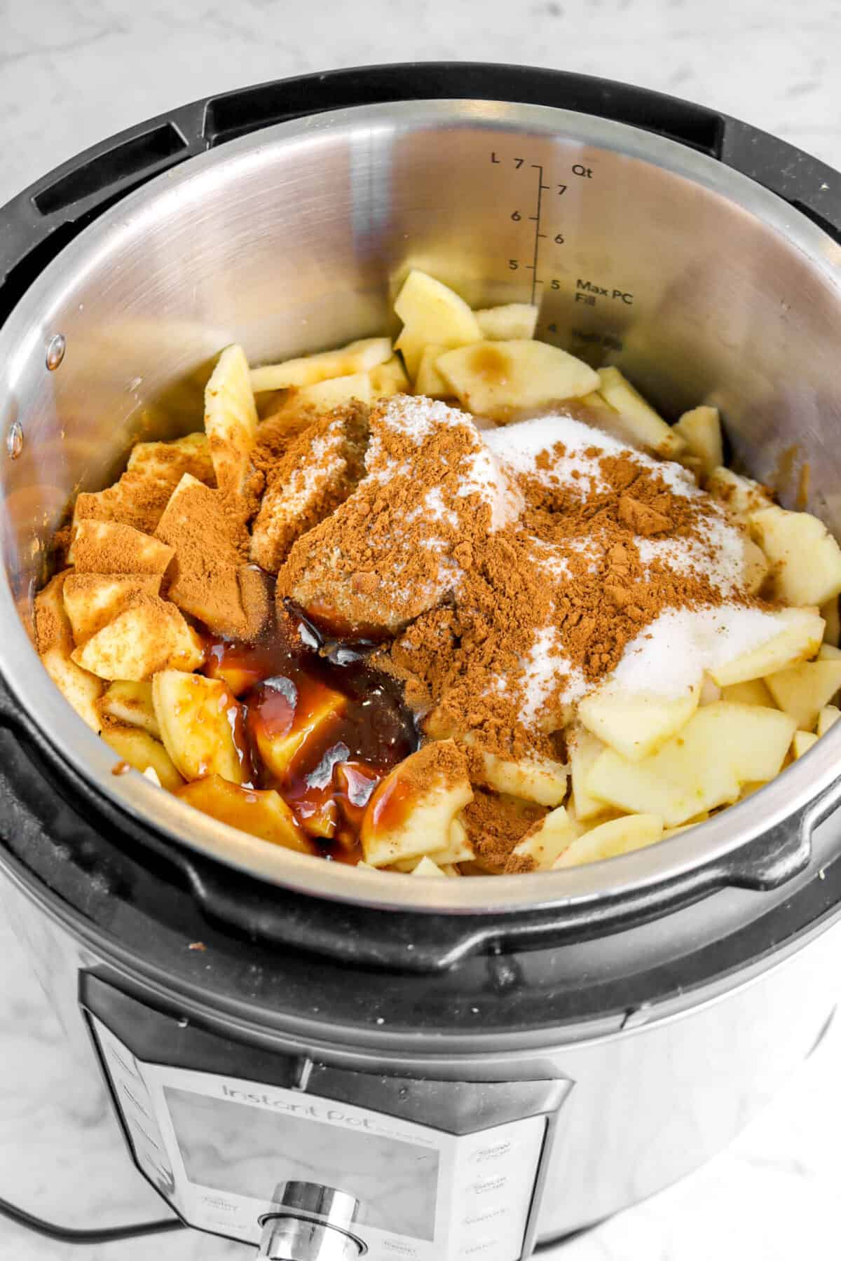 apples, boiled cider, spices, and sugar in an instant pot