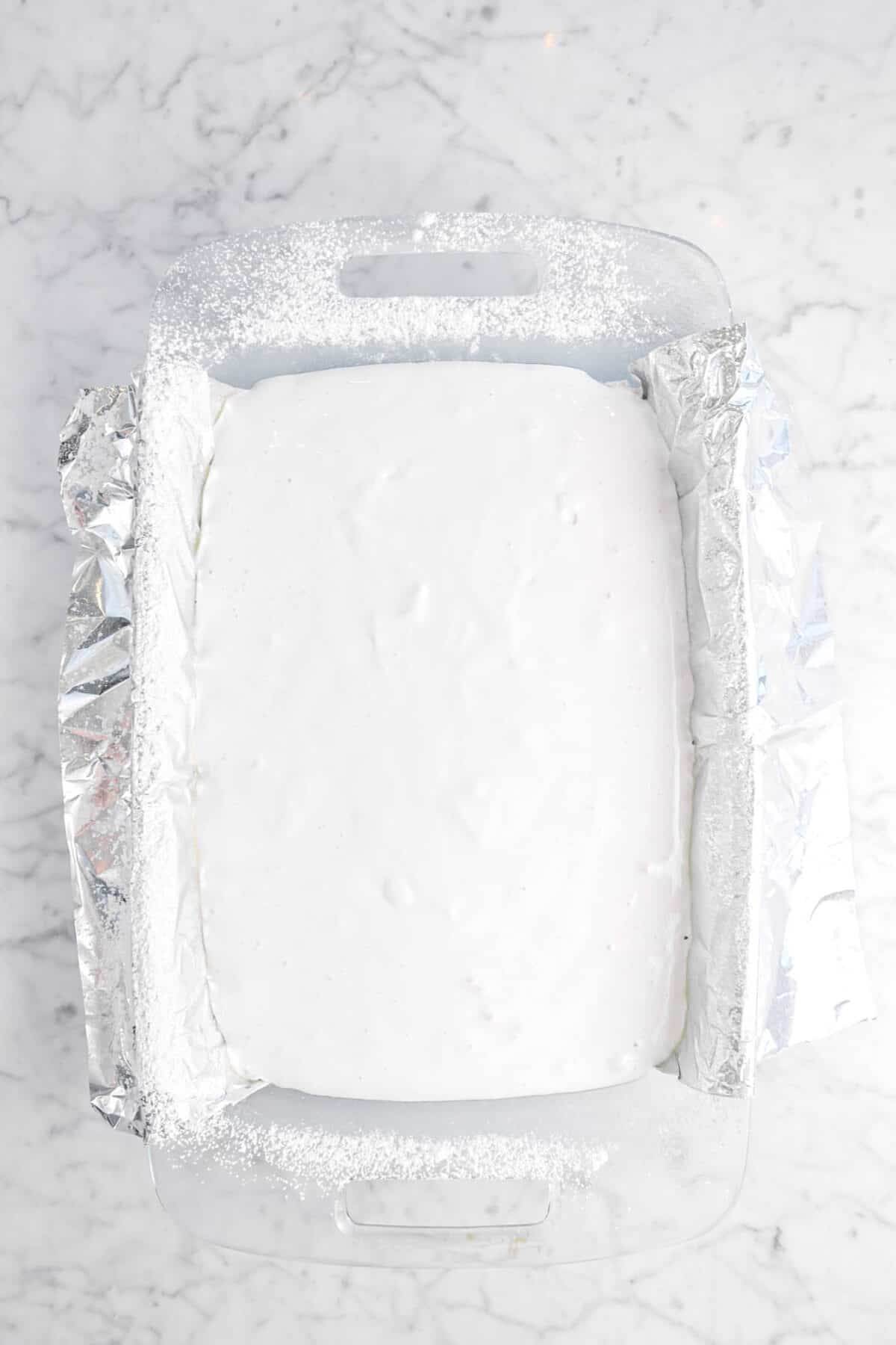 marshmallow mixture in lined pan