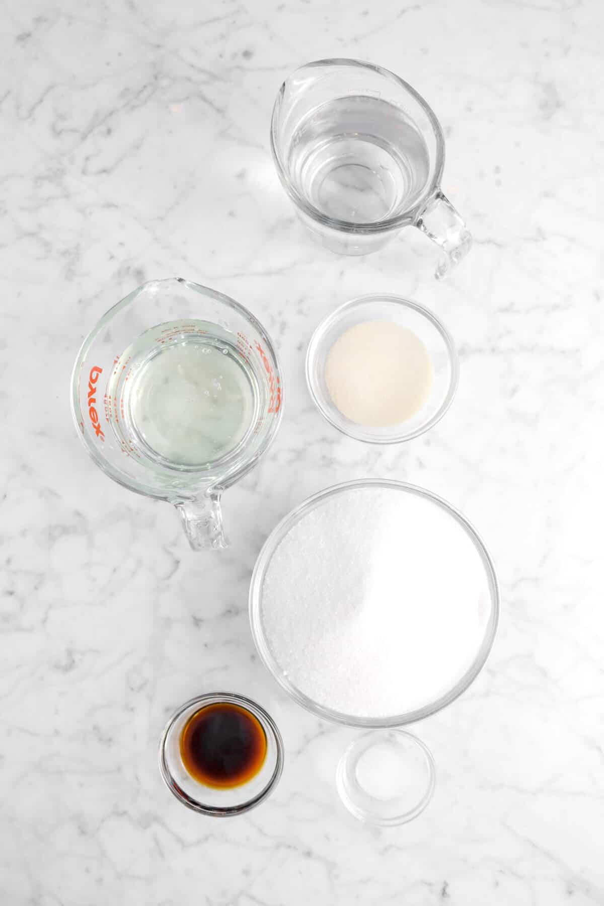 water, gelatin, corn syrup, sugar, salt, and vanilla on a marble counter