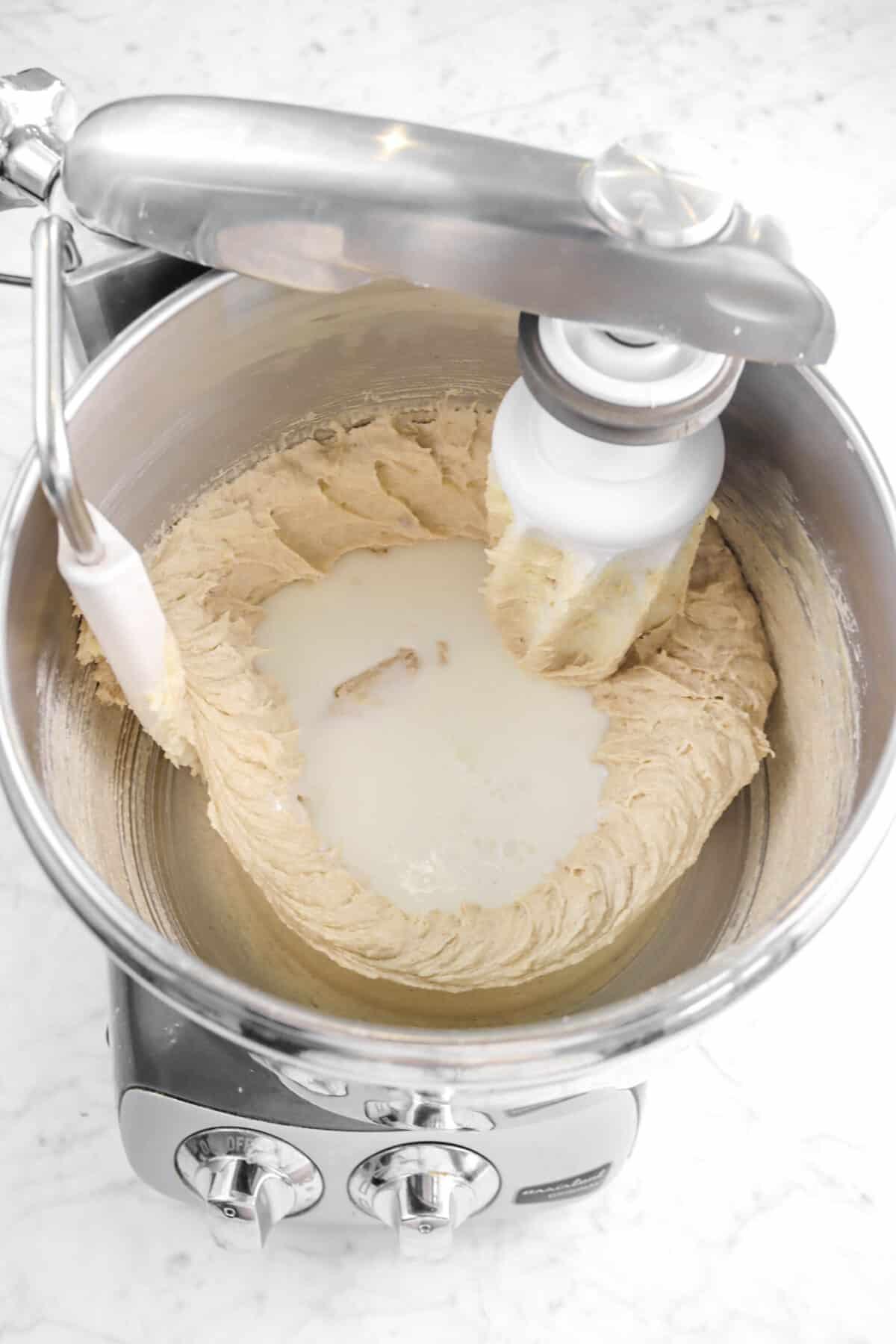buttermilk added butter mixture