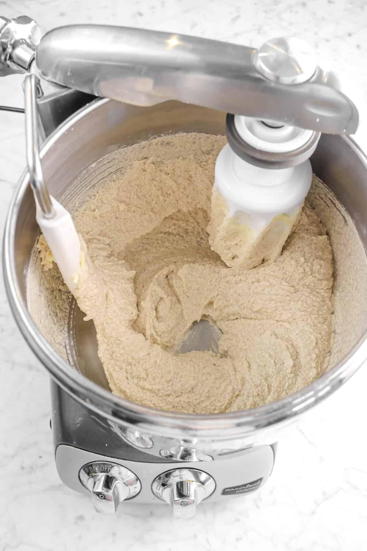 buttermilk stirred into butter mixture