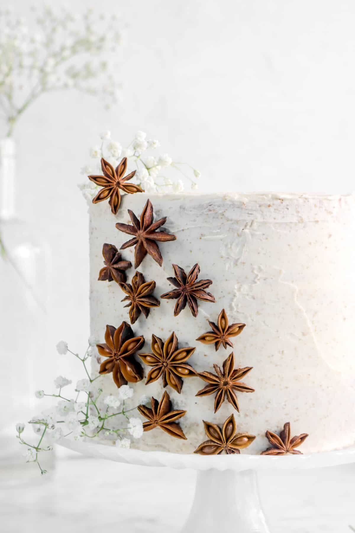pumpkin spice cake with star anise and flowers