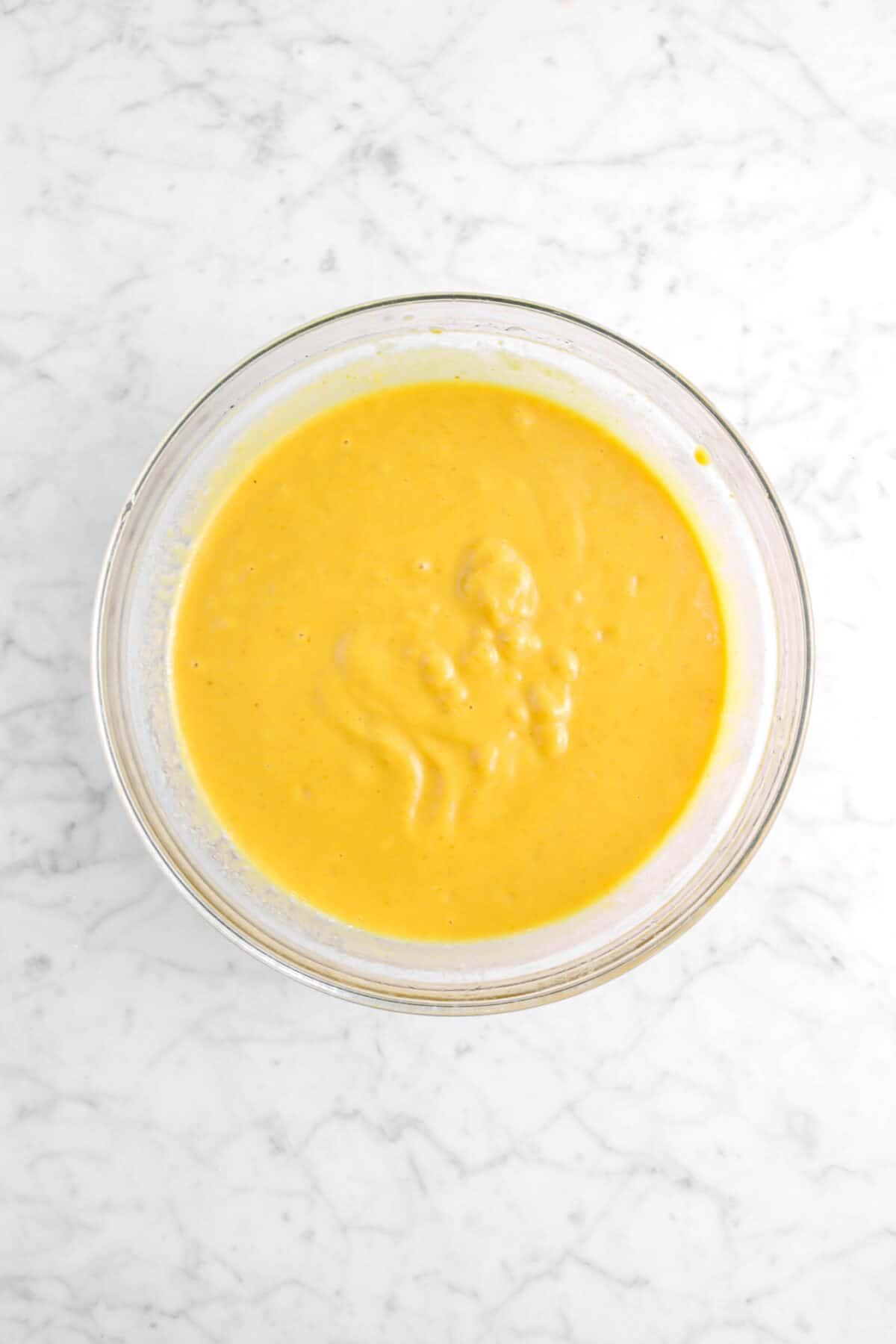 milk stirred into pumpkin mixture