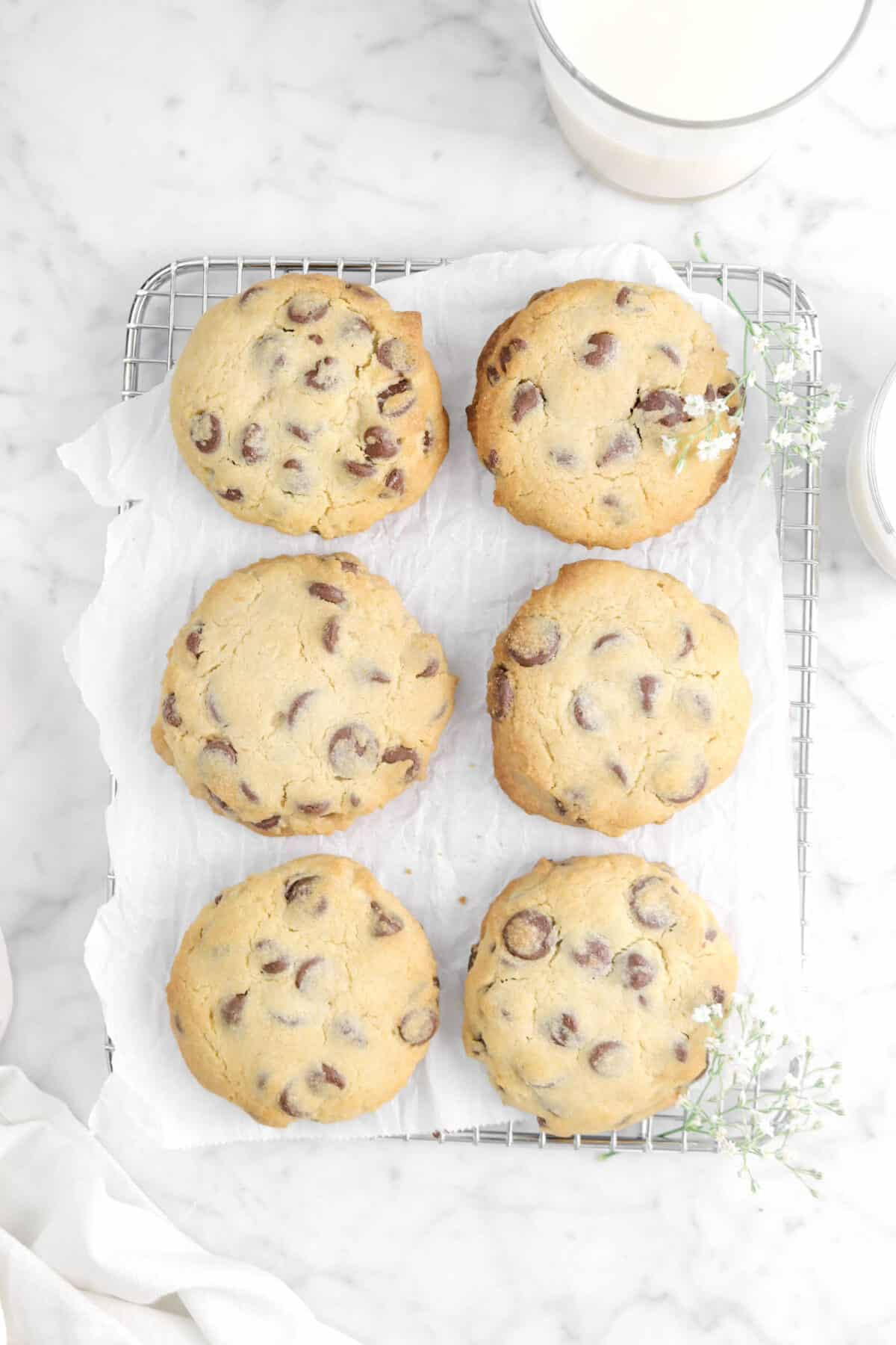 six chocolate chip cookies on a wire cooling rack with flowers and two glasses of milk