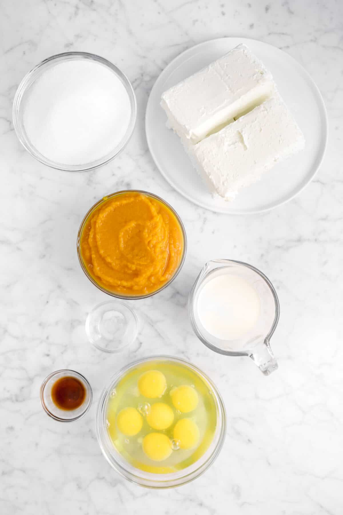 sugar, cream cheese, pumpkin, cream, salt, eggs, and vanilla on a marble counter