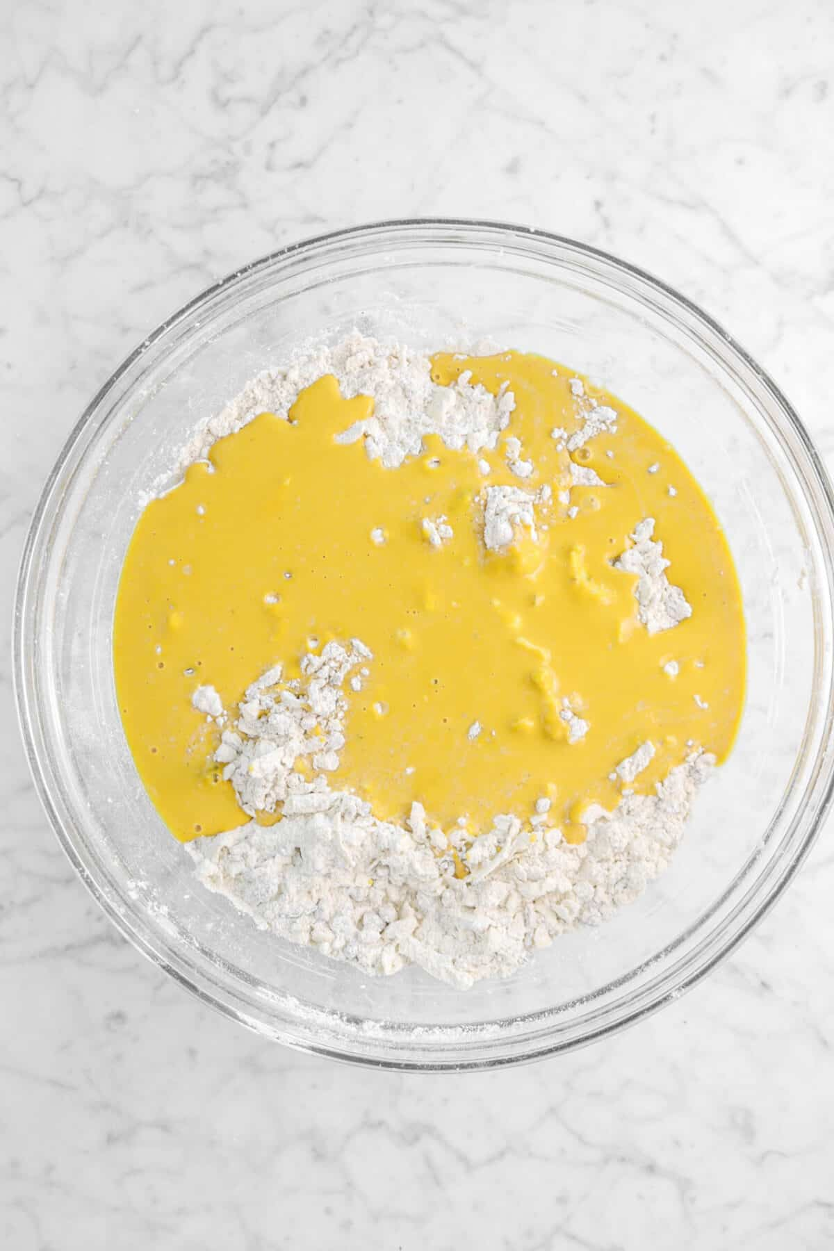 pumpkin mixture added to flour mixture