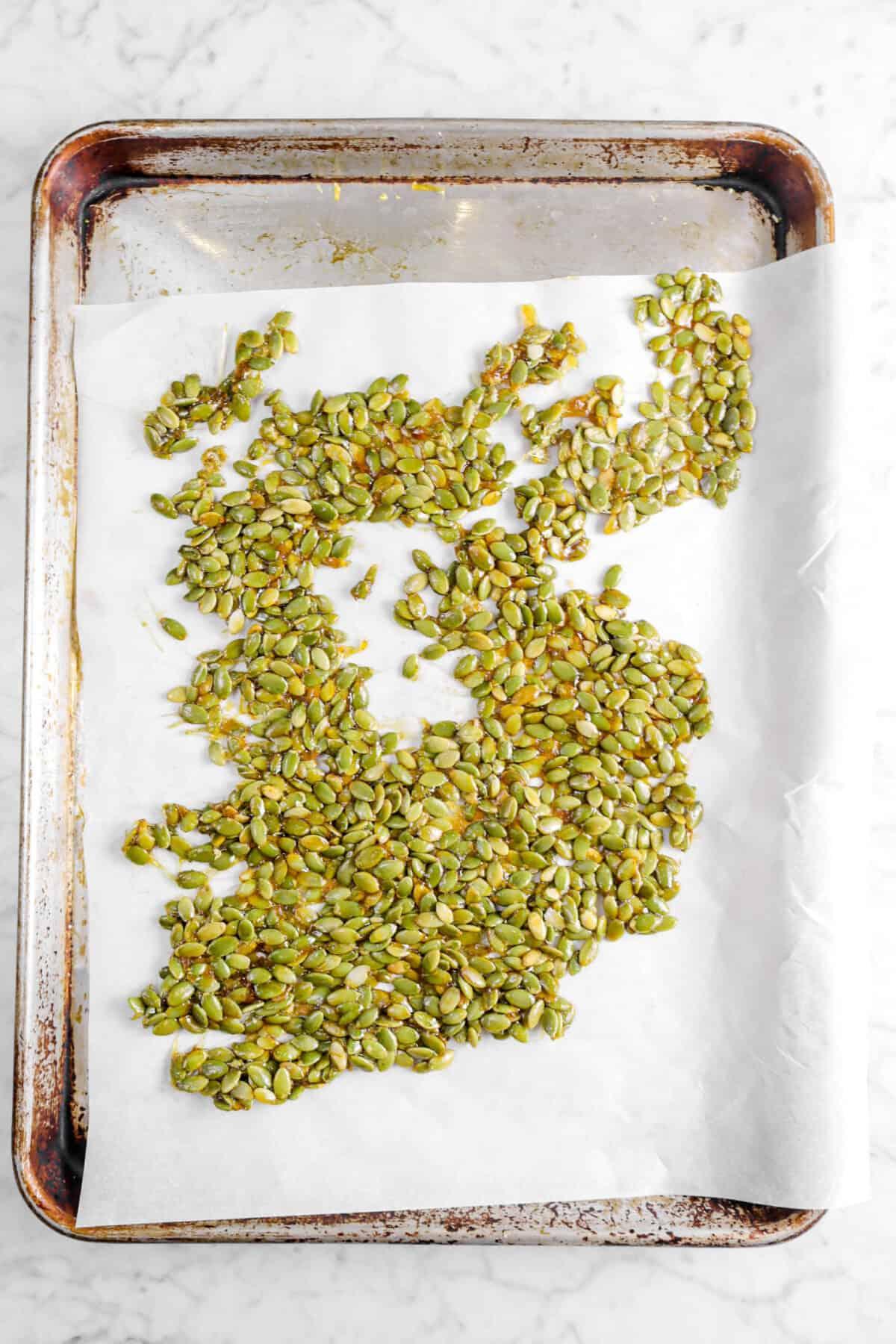 candied pumpkin seeds spread across a pan