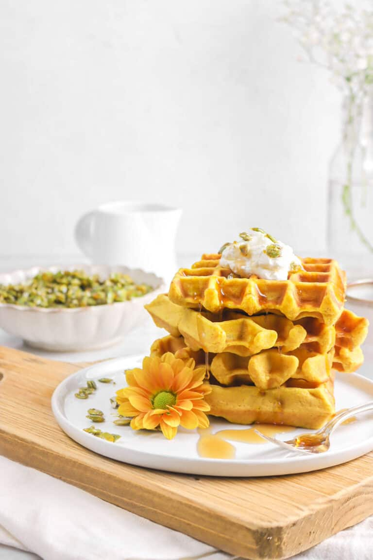 Spiced Pumpkin Waffles with Candied Pepitas