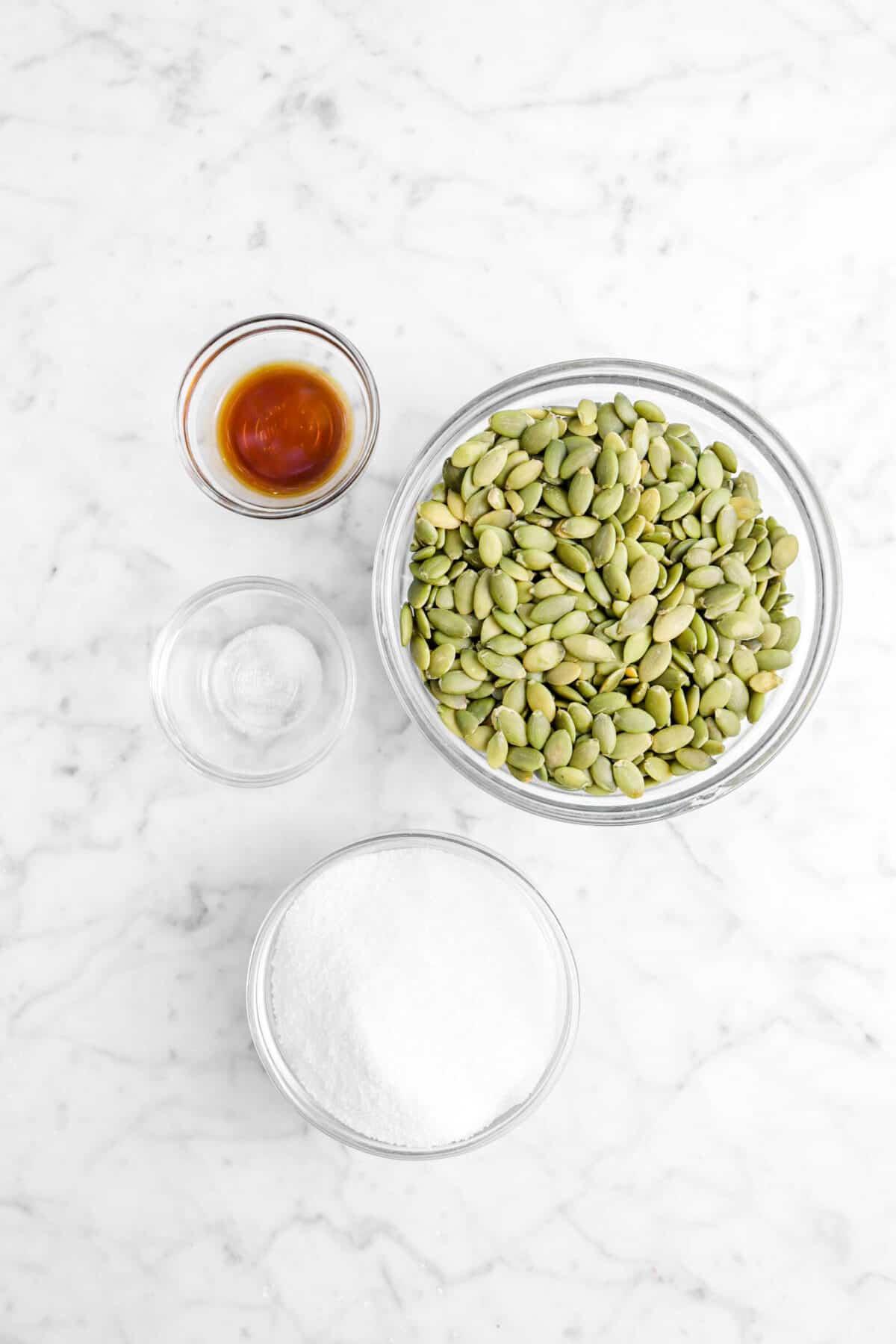 vanilla, salt, sugar, and pumpkin seeds in glass bowls