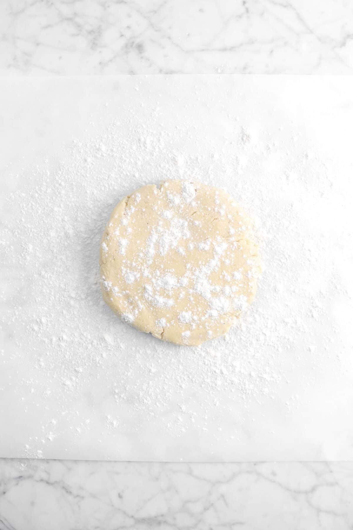 cookie dough on floured parchment
