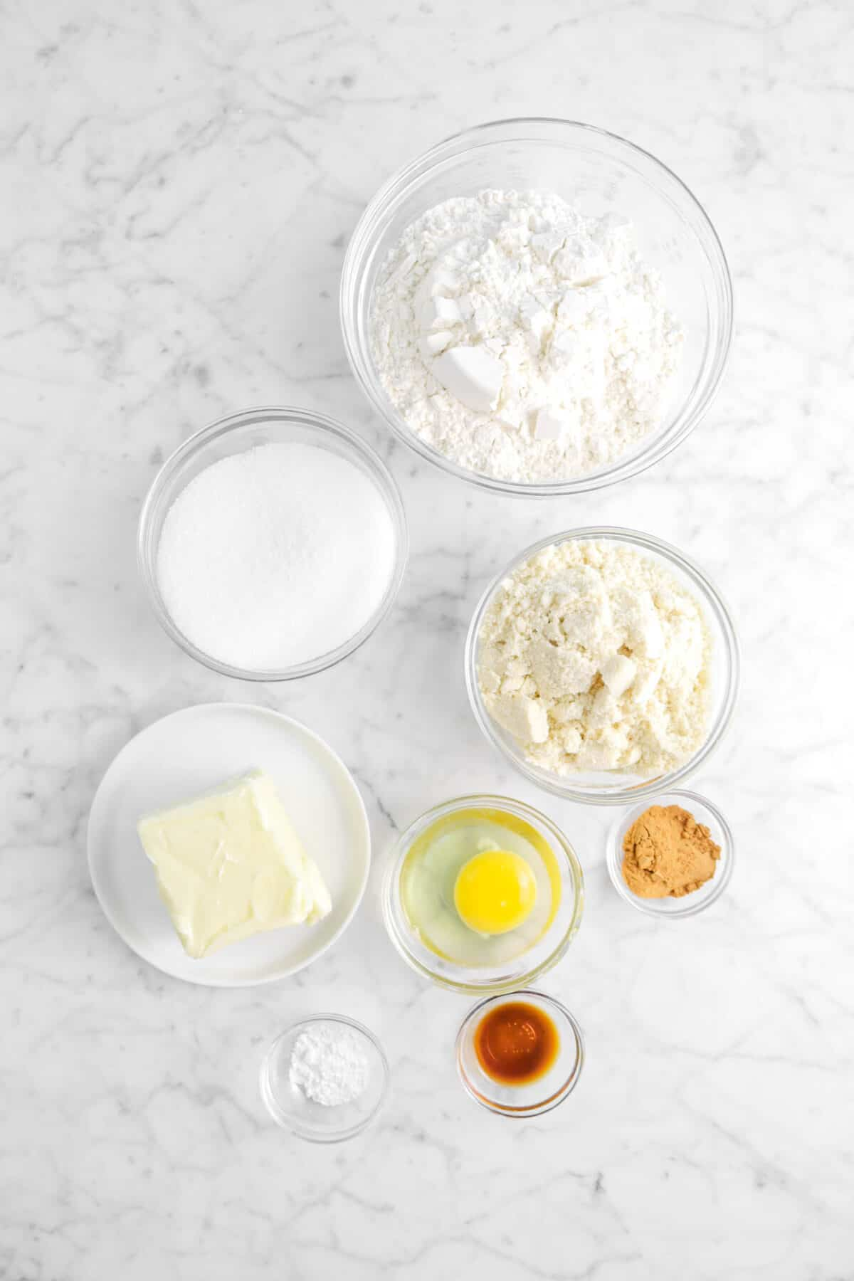 flour, sugar, almond flour, cinnamon, egg, butter, vanilla, and baking powder
