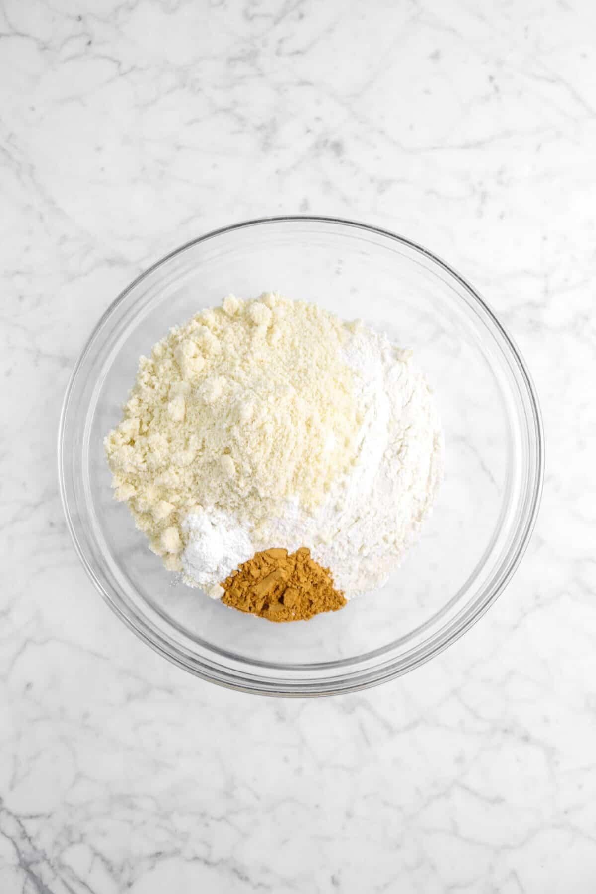 flour, almond flour, baking powder, and cinnamon